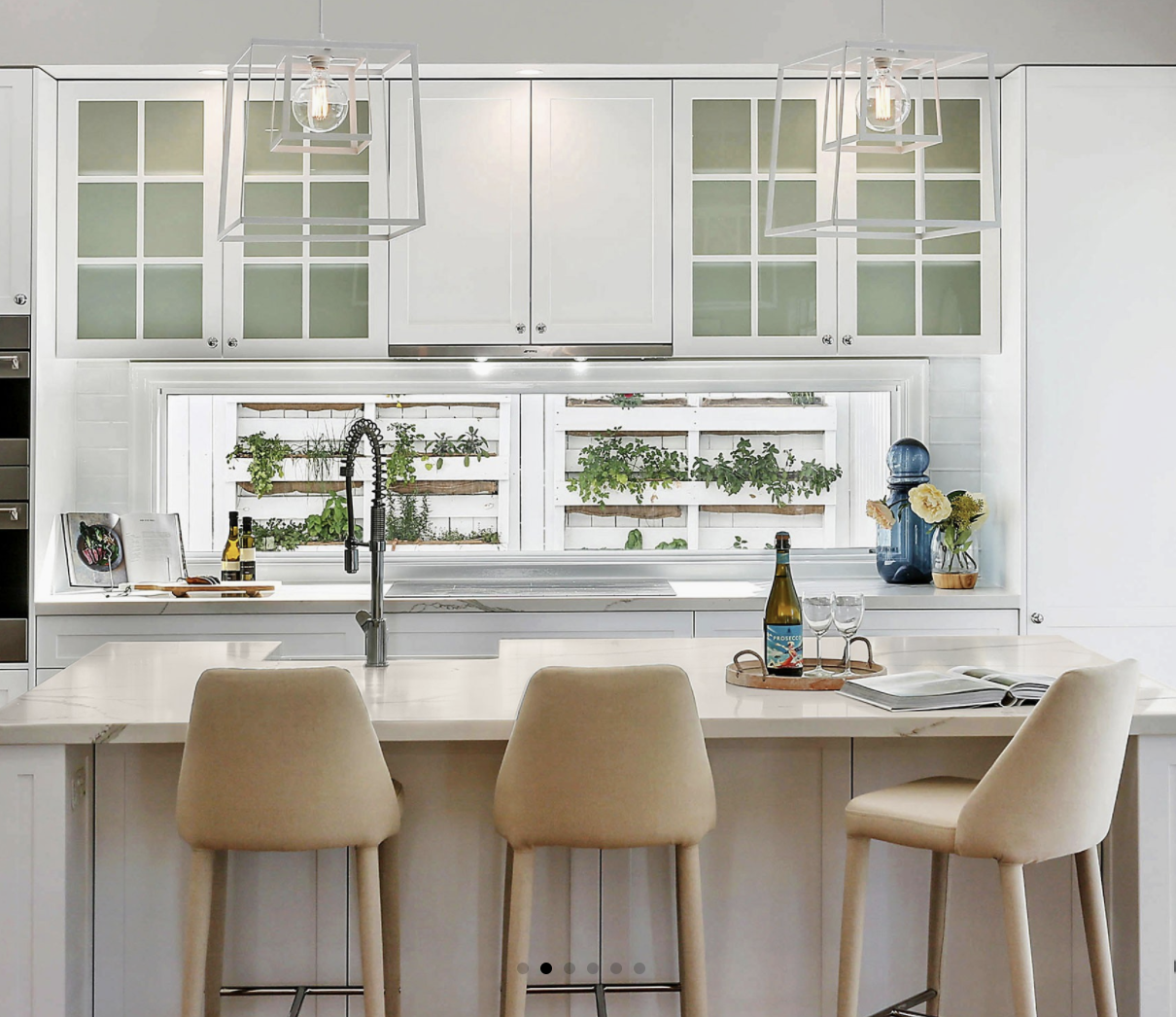 Pendant lights will not over power a small space.