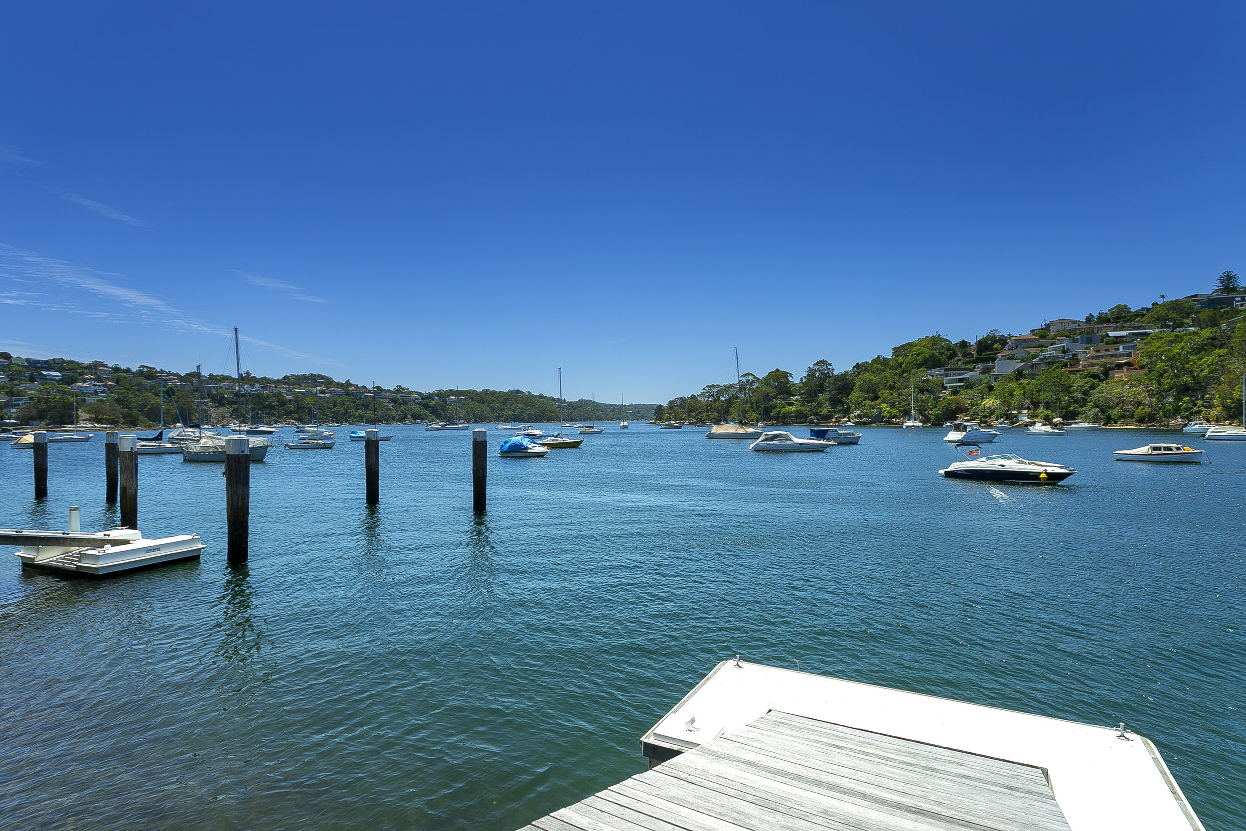 The stunning view over Middle Harbour, from the jetty at 41 Carrington Ave, Mosman.