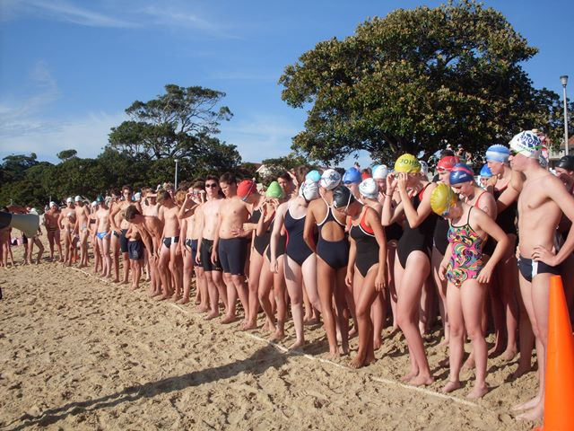 Swimmers lining up at the start of the 2016 race.