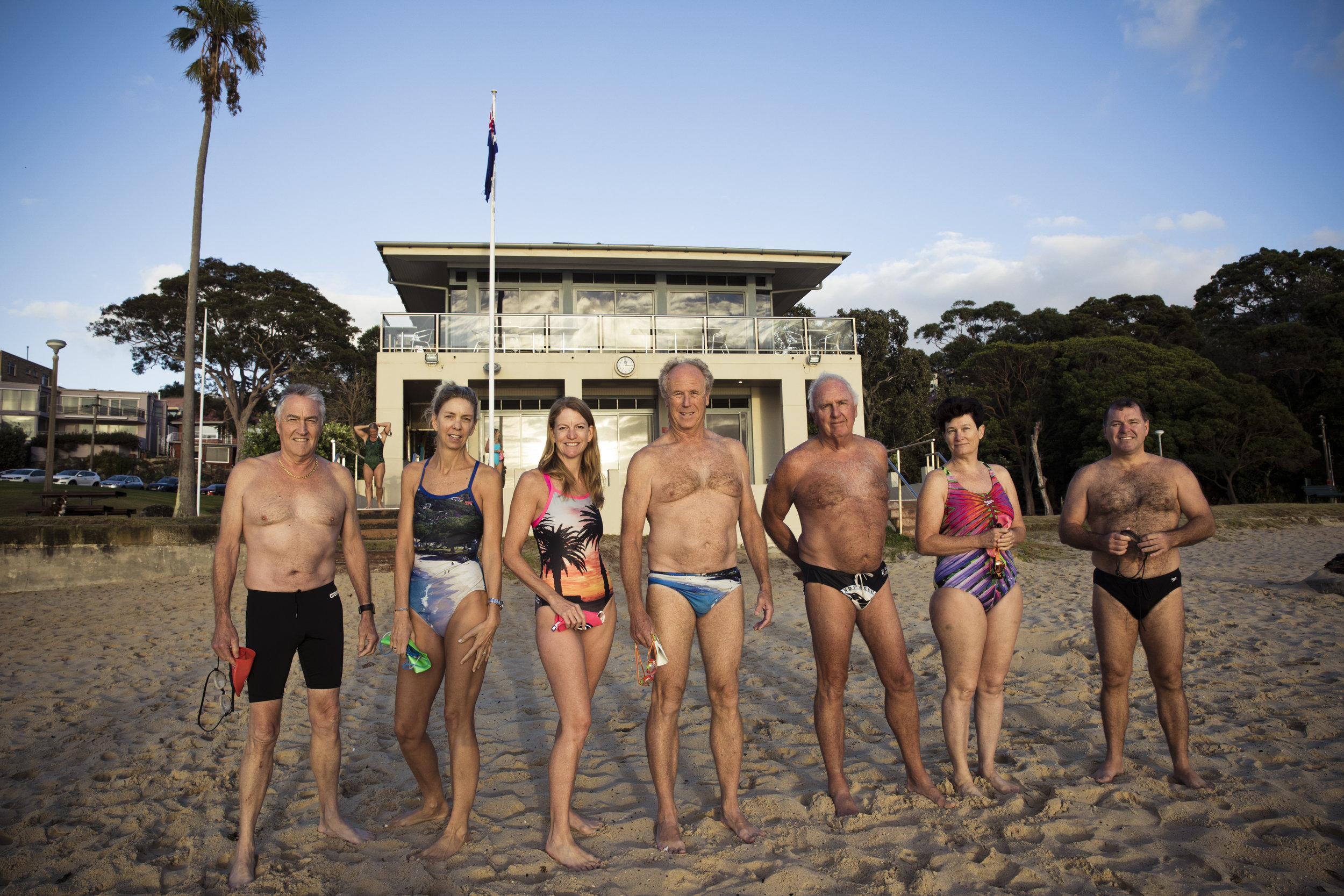 L-R: Balmoral Beach Club members Tony Arena, Karen Panaretto, Cathy Mackay, Peter Ellis, Chris Webb, Jackie Bourne and Brendan Warner.  IMAGE: Graham Monro/  gmphotographics