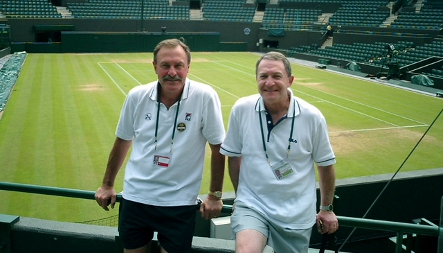 Tennis remains Steve's passion. He is pictured here with John Newcombe at Wimbledon.