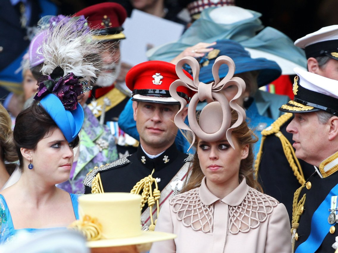 Mad Hatters: Princesses Eugenie and Beatrice caused a right Royal stir at the wedding of Prince William and Kate Middleton in 2011. Photo: Getty Images.