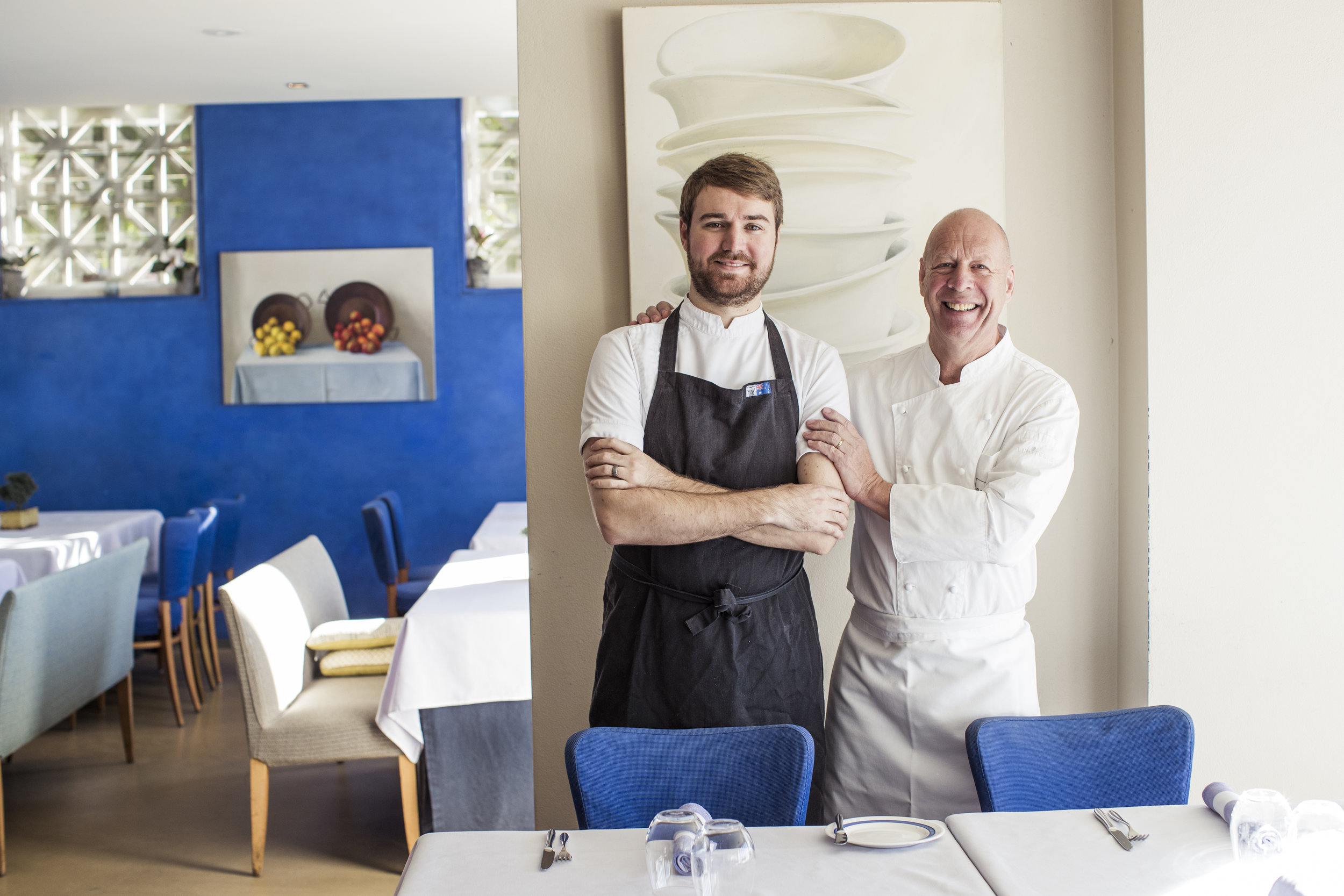 Iconic Chef and Owner of Bathers Pavilion with his 26-year-old Head Chef Alexis Besseau.