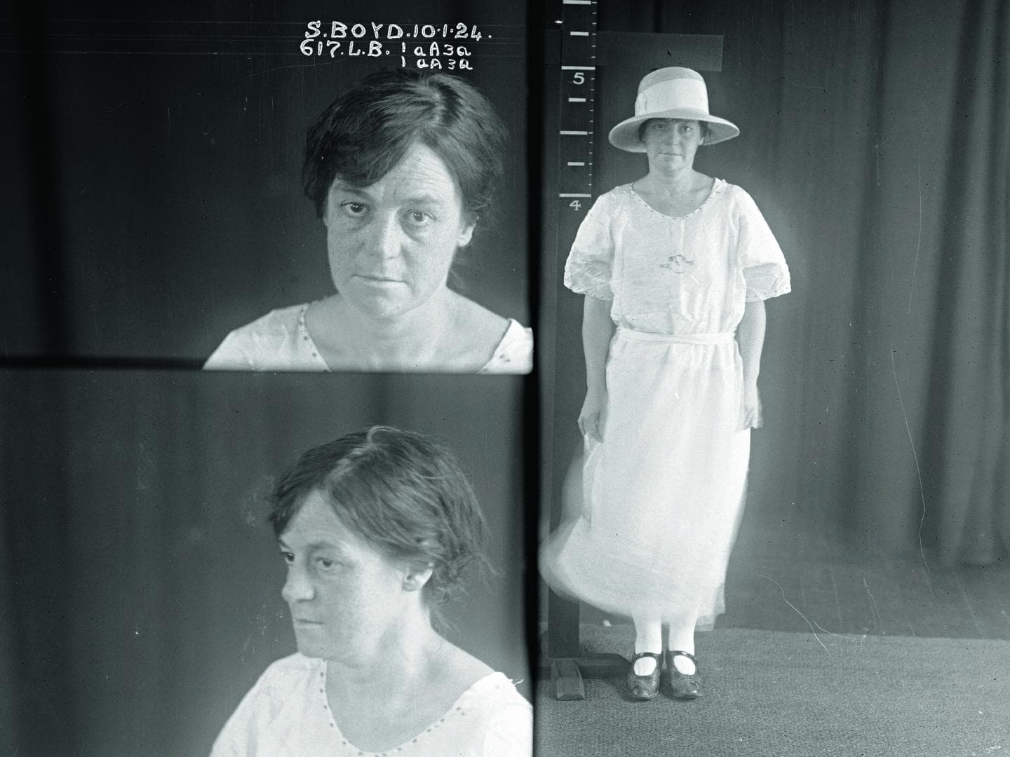 Sarah Boyd. Photographed by police in 1924.    Image: Sydney Living Museum.