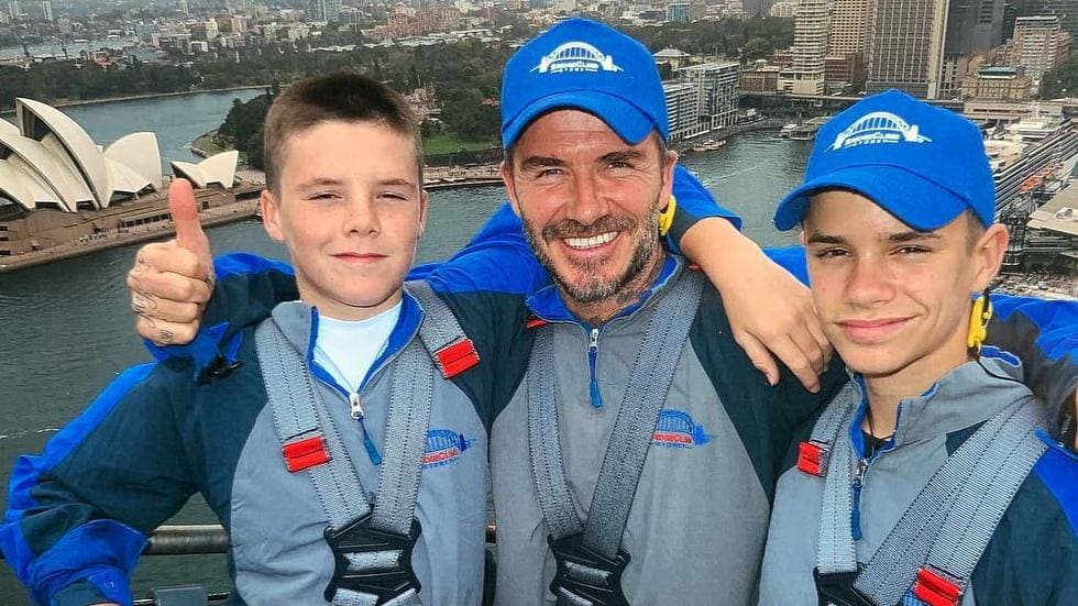 Beckham and his boys on the Bridge Climb this week. Image: David Beckham/Instagram.