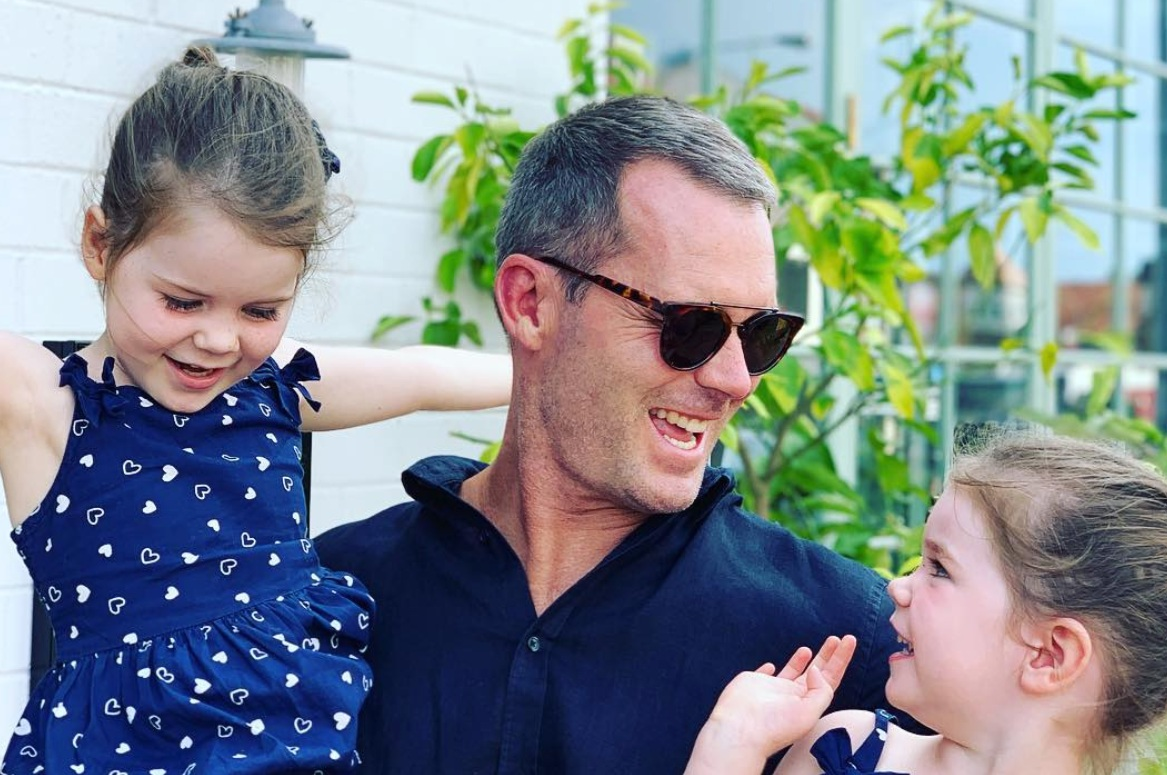 Tom with daughters Sloane and Scout outside The Buena.