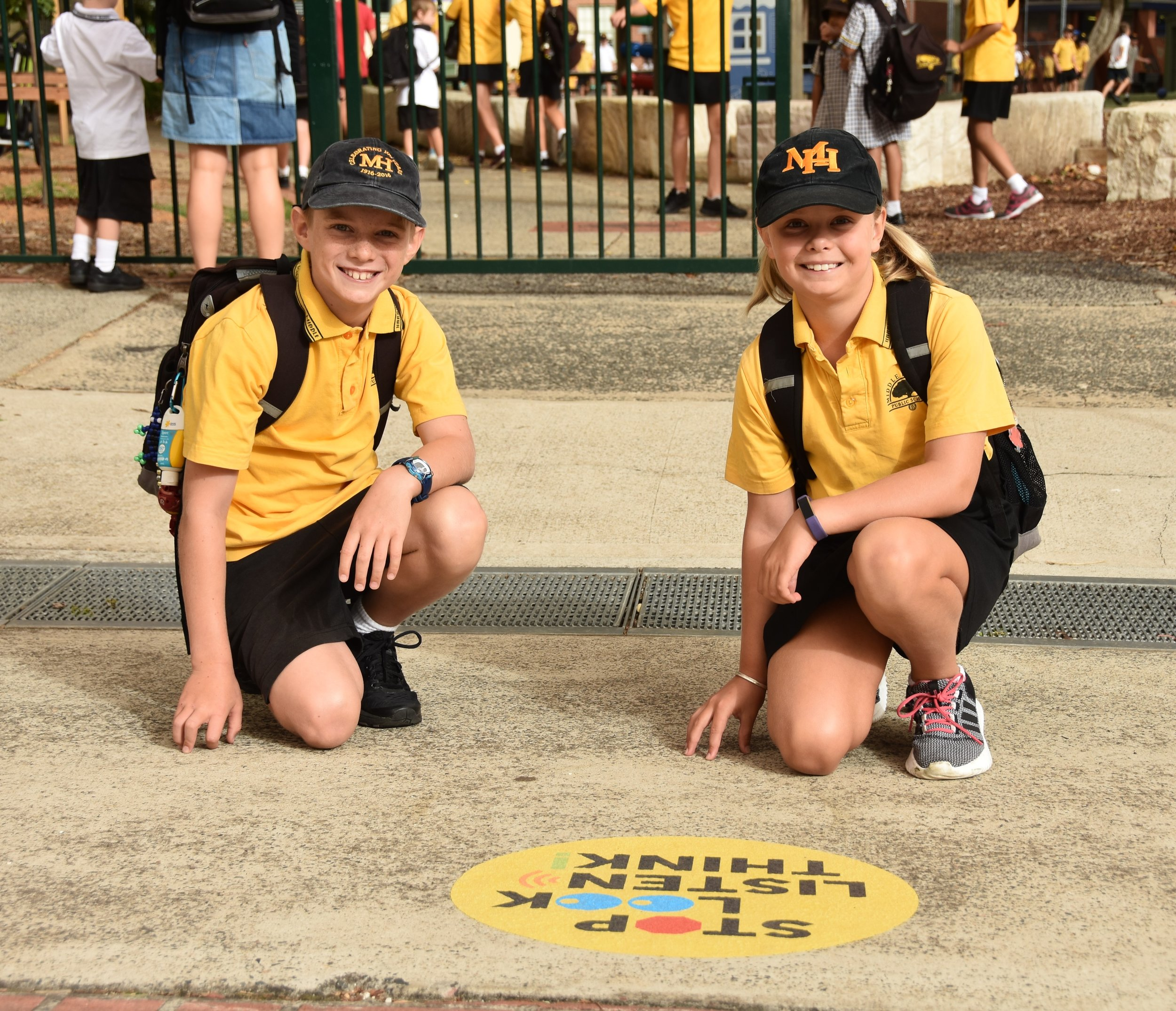Zac and Isabella von Armin at the Middle Harbour Public School pedestrian crossing.