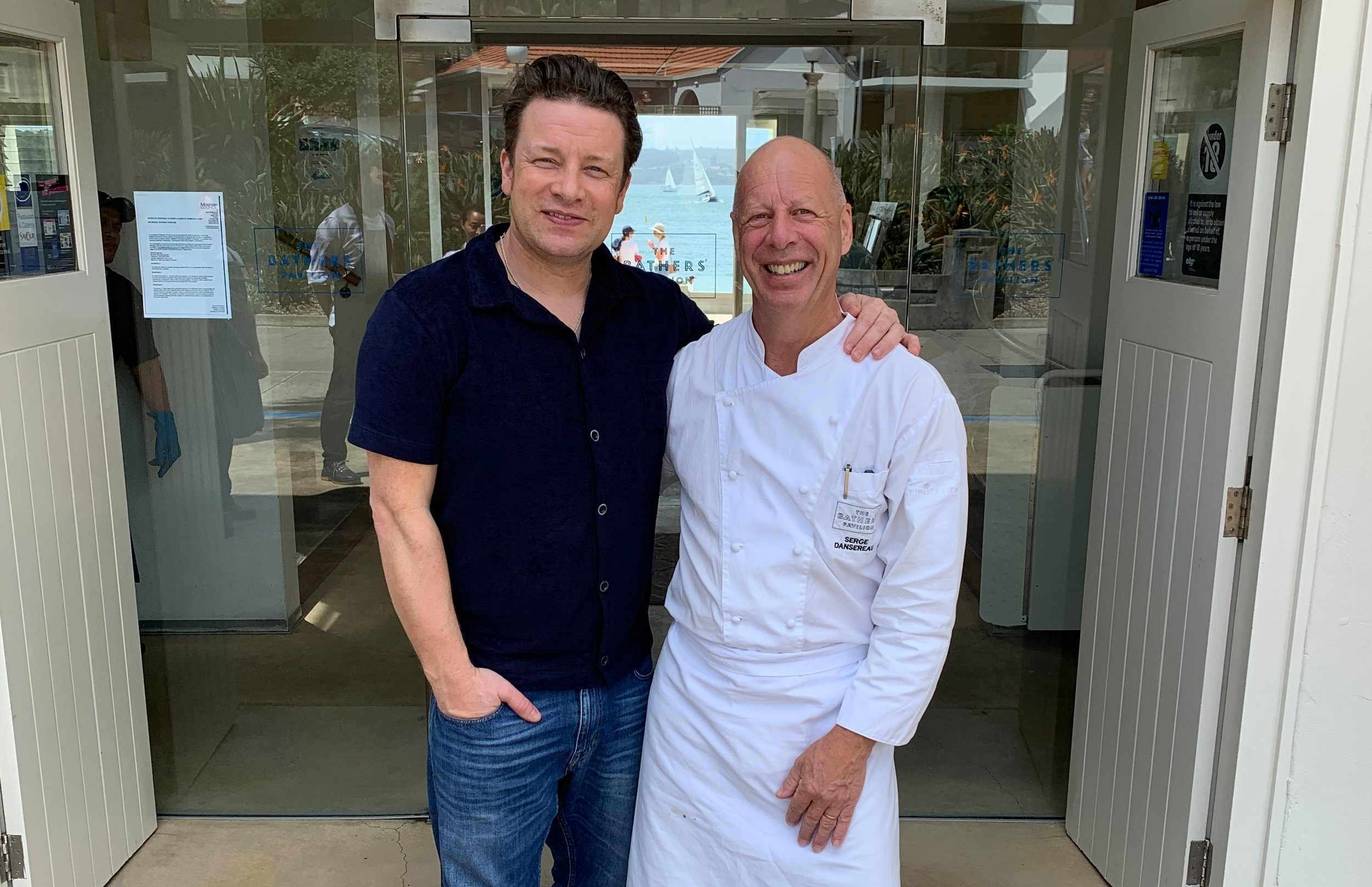 PUCKA TUCKA: Bathers Pavilion in Mosman serves up the goods to Jamie Oliver yesterday.