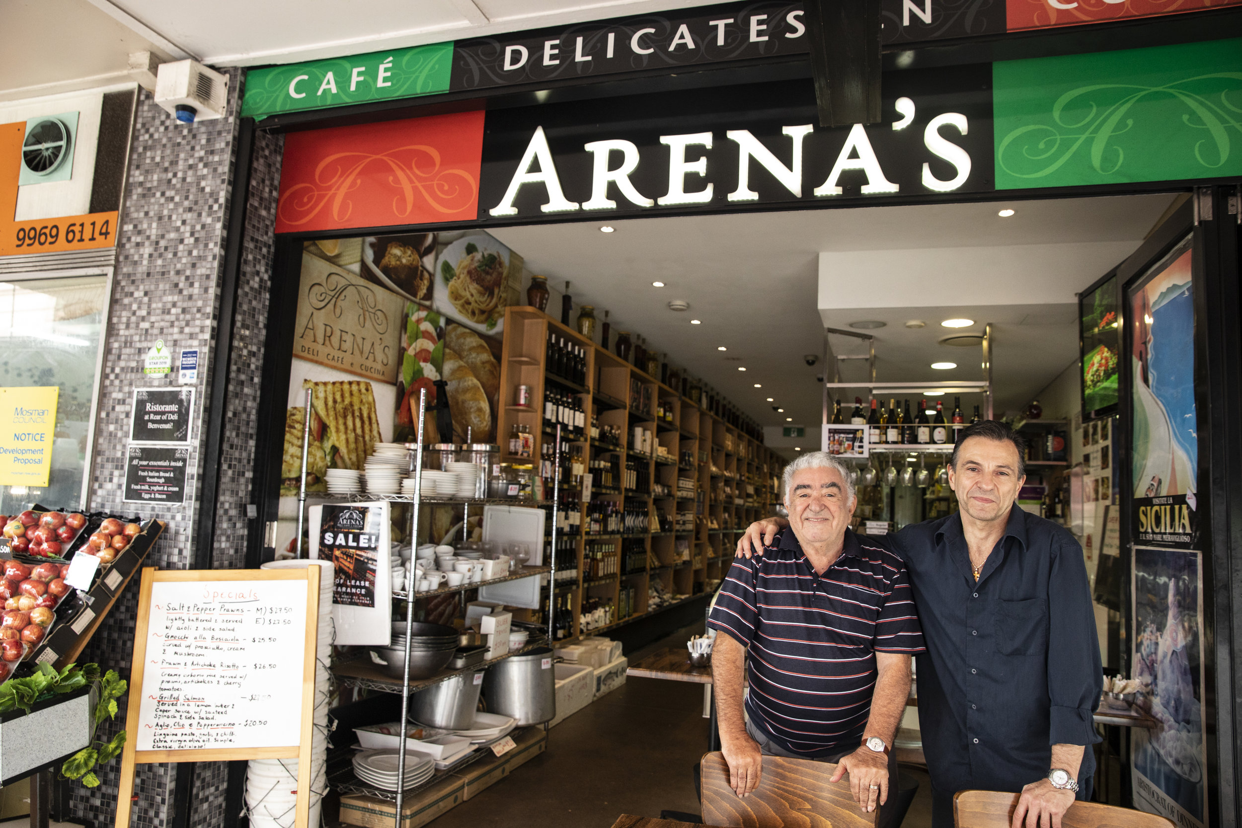 Matteo and Joseph pictured outside Arena's Deli this week.