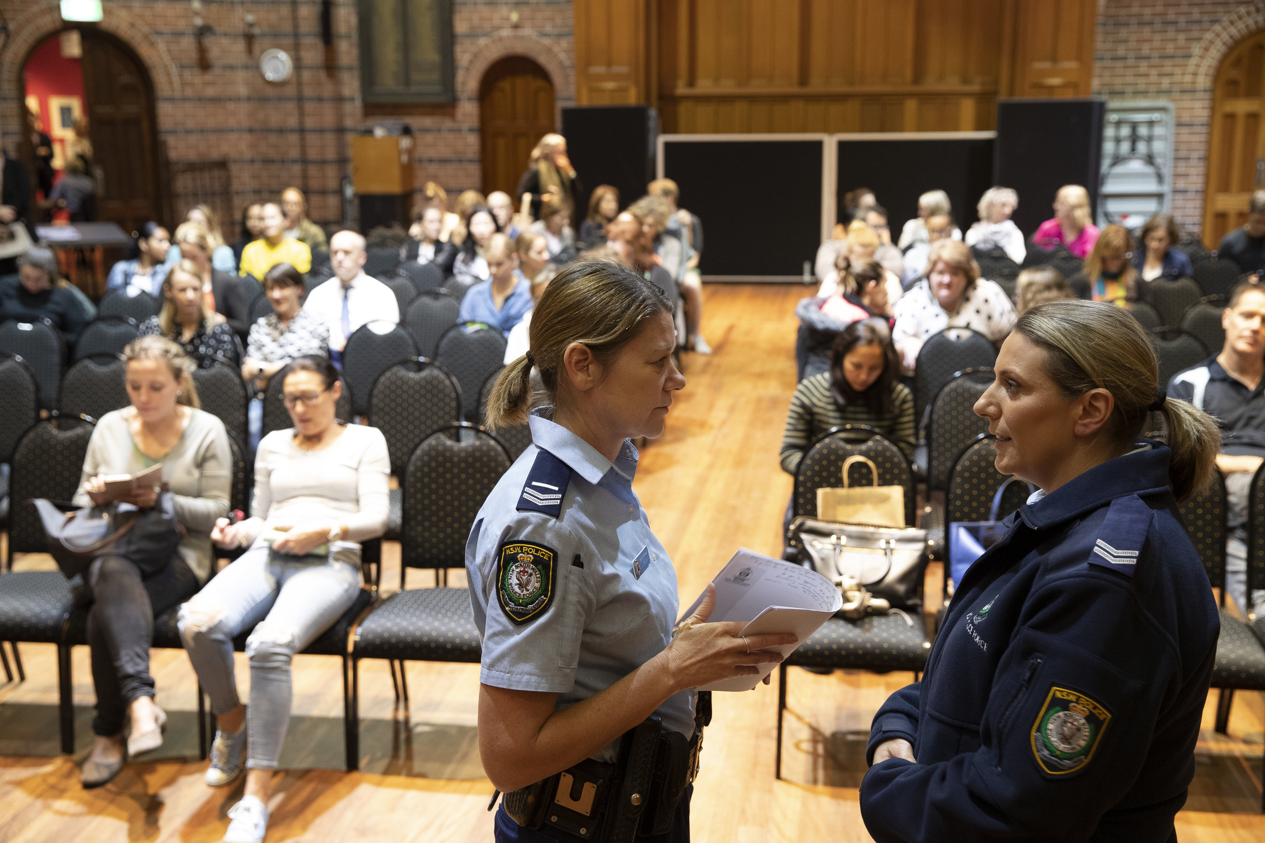 Police officers Jenni Brown and Misty Boss at Mosman Art Gallery last night.