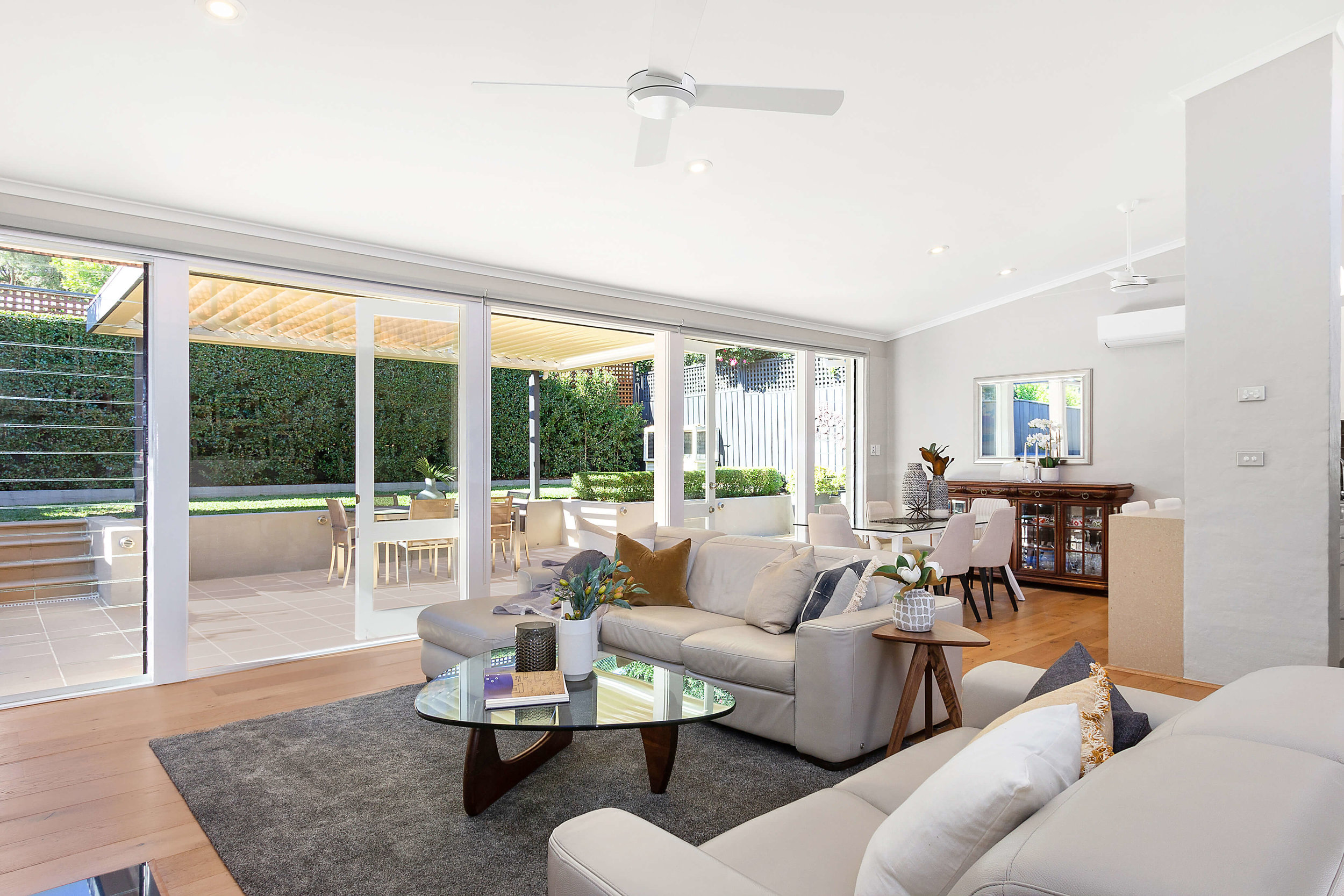 Impeccable and spacious living and dining at 41 Countess St, Mosman.