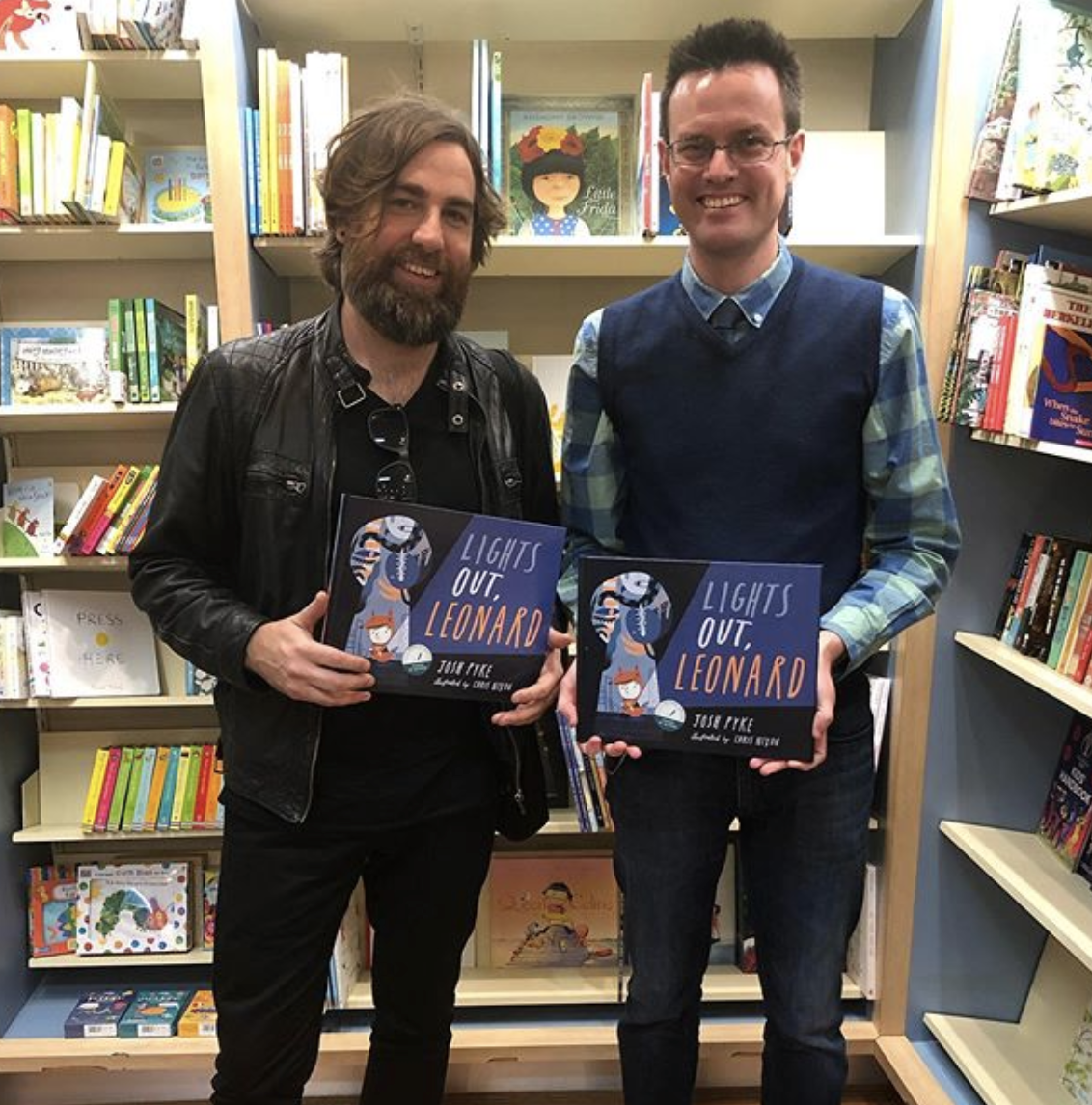 Author Josh Pyke (L) with Pages & Pages Jon Page.