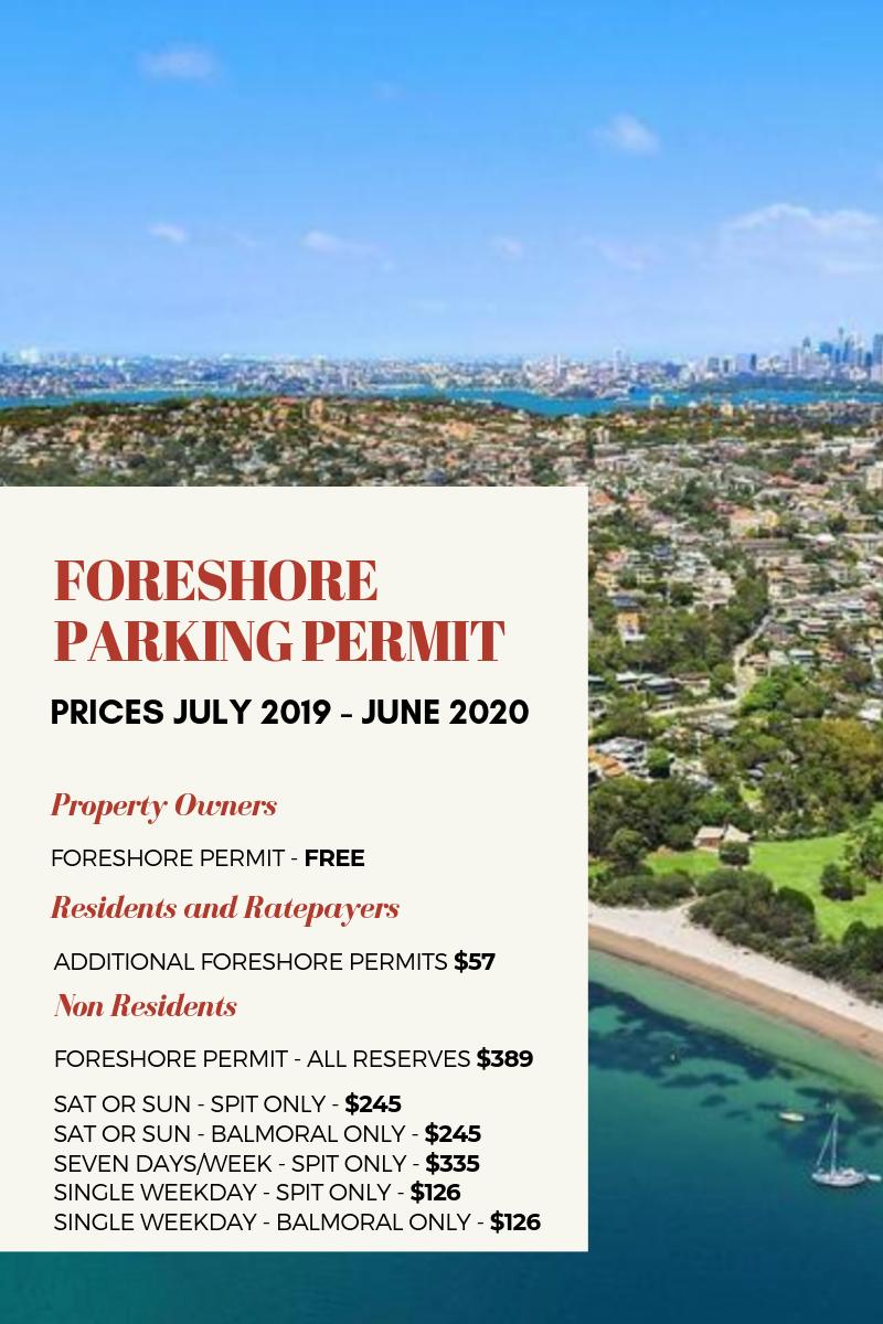 Foreshore Parking Permit prices - Mosman Council