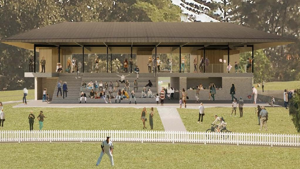 Proposed grand stand at Allan Border Oval - with no child care facility.