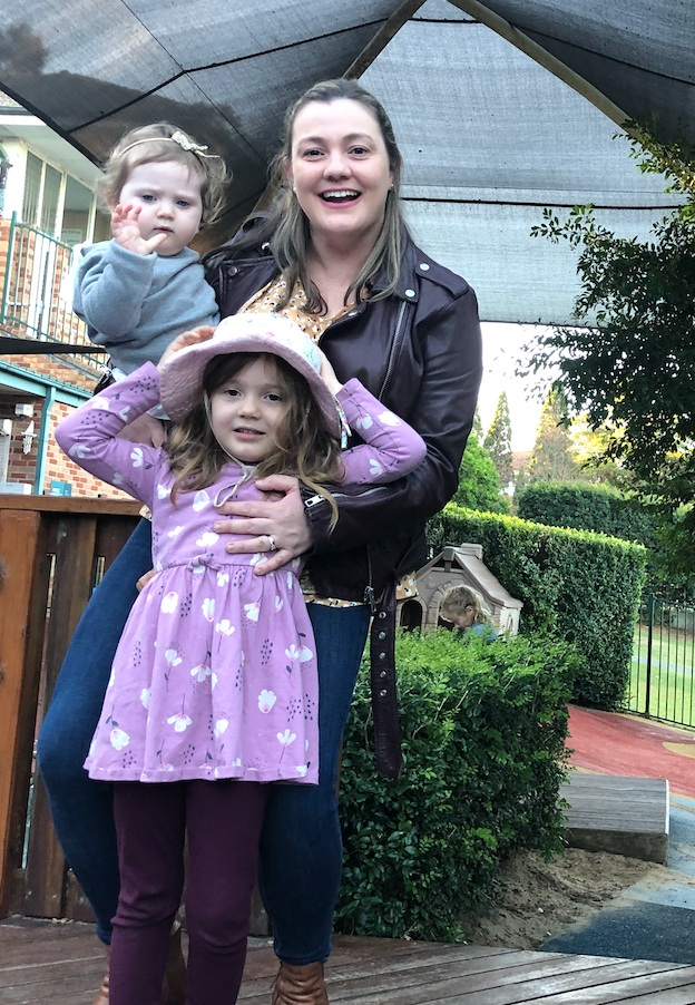 Victoria Quayle with Maeve and Darcy.