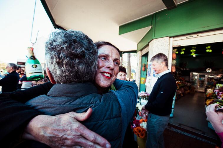 Mayor Carolyn Corrigan says farewell to Jimmy Koustoubardis