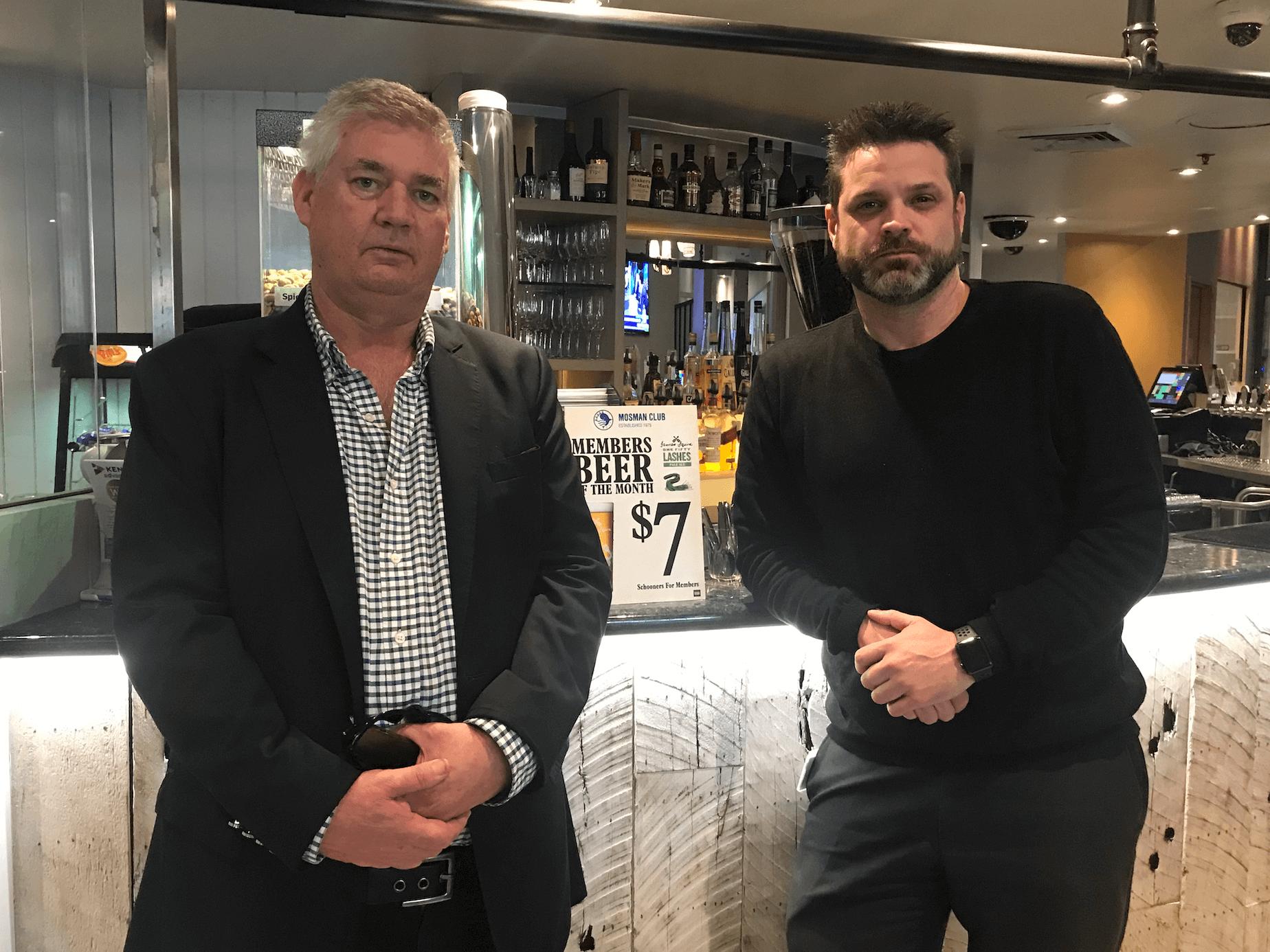 OUTRAGED: Councillor Roy Bendall and Mosman Club's Gerard Boyle.