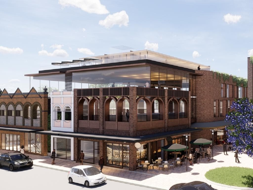 An artist impression showing a relocated Mosman Club on the first floor, with a rooftop area.  Image: Woolworths.
