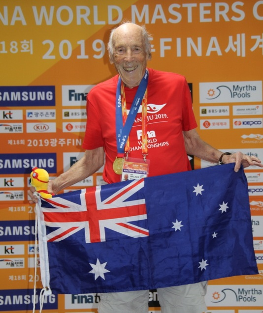 Mosman's Bill Walker at the FINA World Masters Swimming 2019.