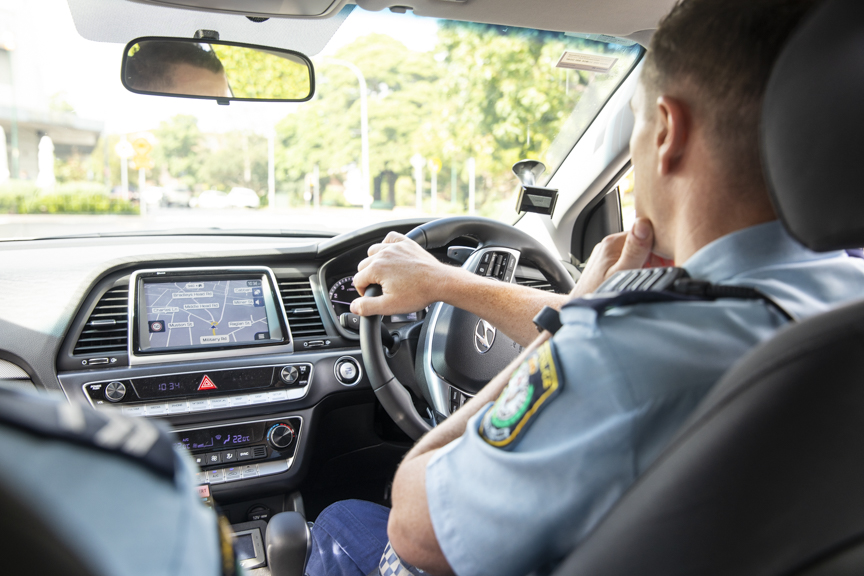 NSW POLICE: Patrolling lower north shore streets.