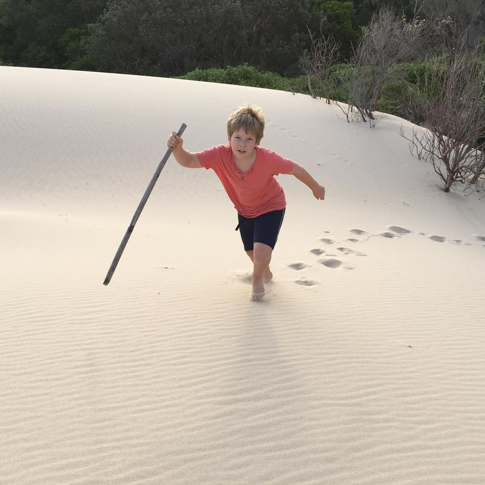 Bennett Evans goes walk-a-bout on his own private beach!