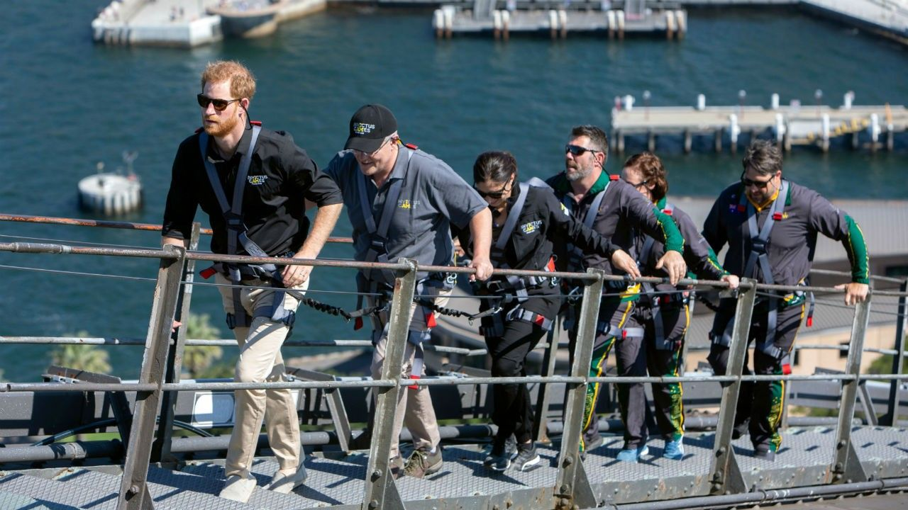 Prince Harry climbs Sydney Harbour Bridge