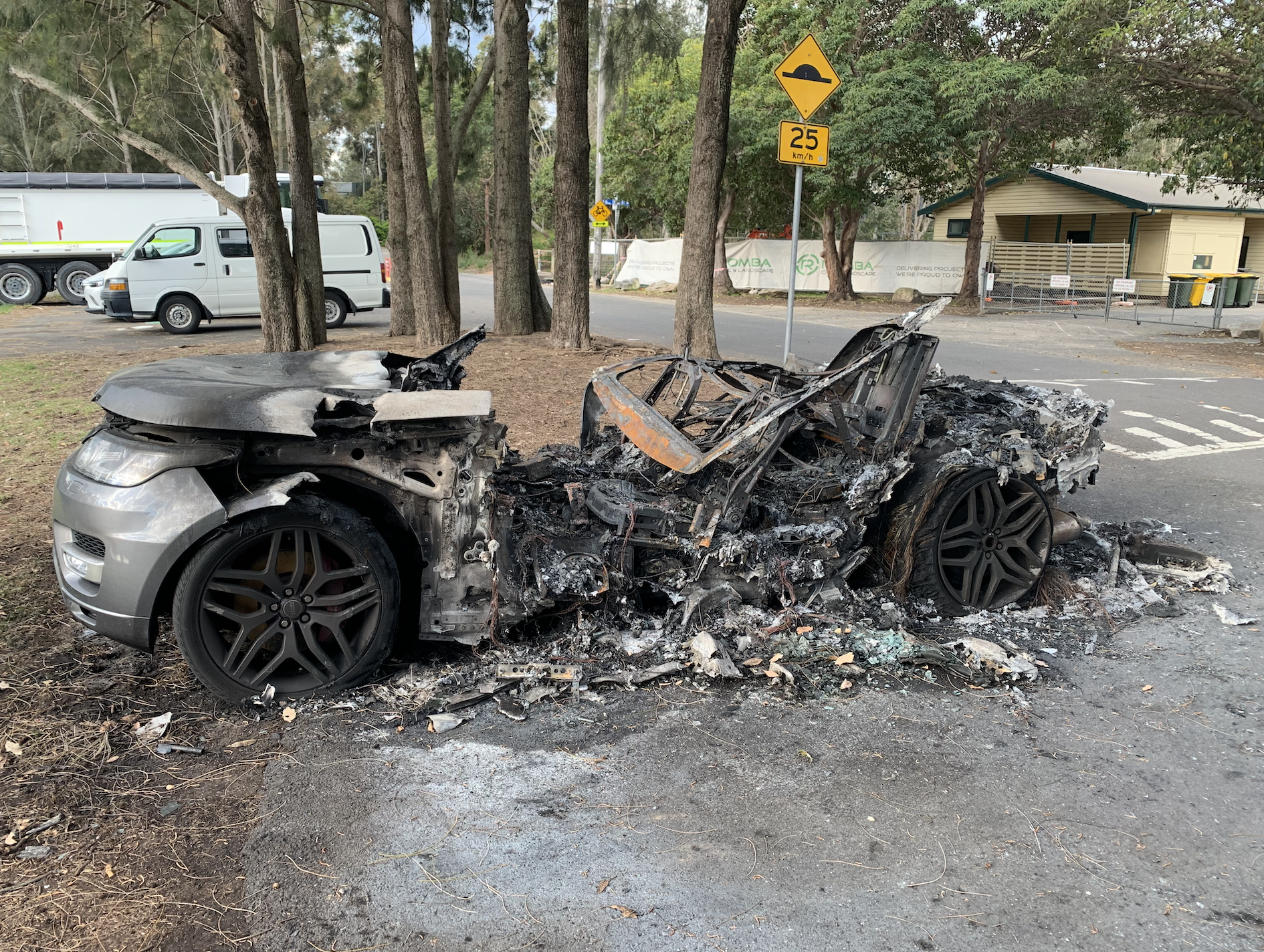 Torched: The Range Rover was found two days after being stolen.