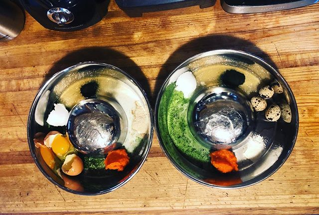The beginning of a great breakfast 🥥🥕🥩🌿 1 tbsp of virgin coconut oil, 2 tbsp of duck/quail bone broth, 1/4 tsp of Hawaiian Spirulina, 1/2 scoop of @adoredbeastapothecary phytoplankton, 1 tbsp of steamed and puréed organic carrot, 1 tbsp of @answerspetfood raw goats milk, 1 fresh chicken egg for Drake, 3 fresh quail eggs for Riley, 1/4 tsp of @adoredbeastapothecary Healthy Gut probiotic and digestive enzyme for Riley, & 1 tsp of @biostarus Terra Biota probiotic for Drake #foodismedicine #bioavailablenutrition #wholefoodnutrition #healthfromtheinsideout #ibddogs #cancerdogs #foodiseverything #caninewellnesscoaching #dwwcaninenutruitionconsulting