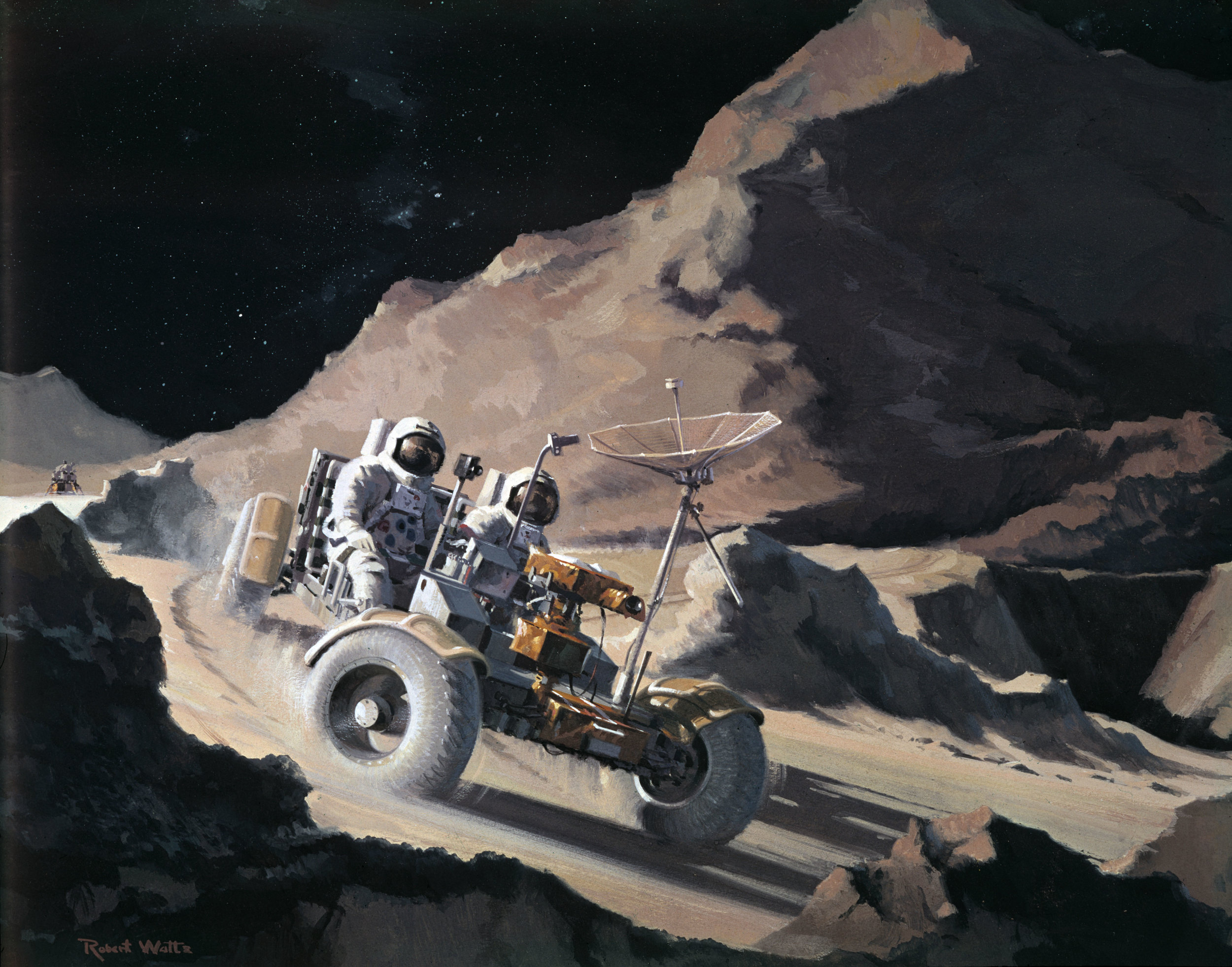 An artists impression of the Lunar Roving Vehicle