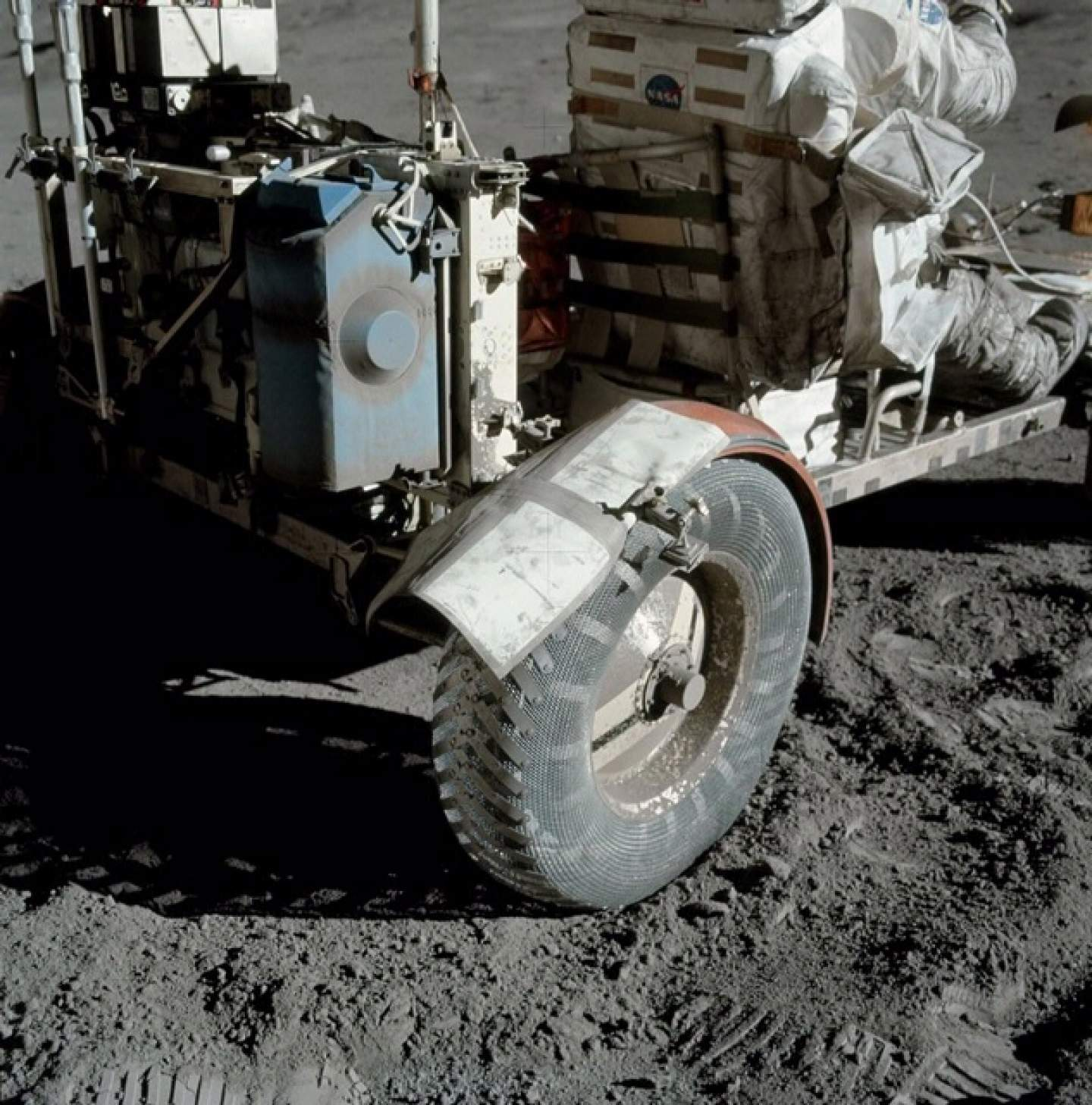 The broken fender replaced with a lunar map