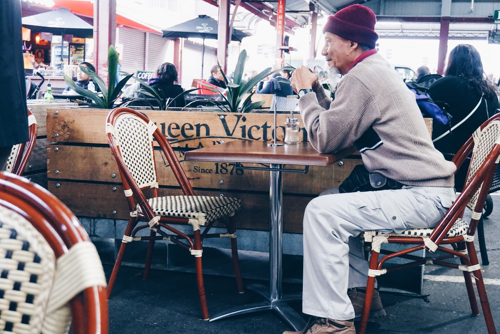 Having a cuppa at Queen Victoria Market.