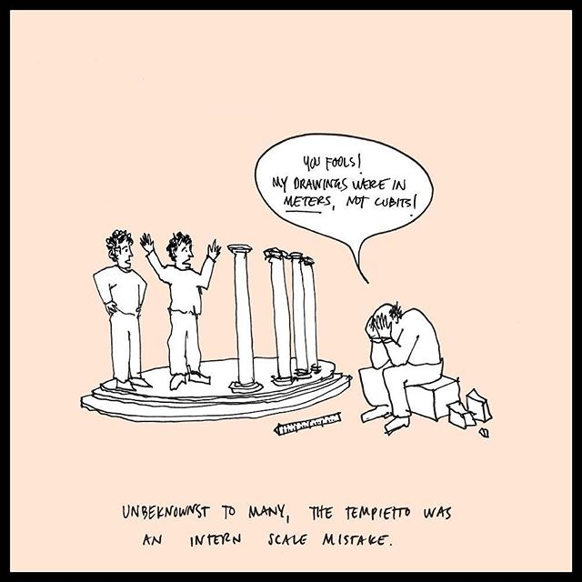 """For those of you who missed the recent exhibition """"Tempietto Exemplum"""" at the Yale School of Architecture, here's a cartoon about everyone's favorite miniature temple (cartoon by John Kleinschmidt, tiny temple by Bramante)  @ysoa #socuteijustwanttoputitinmypocket"""