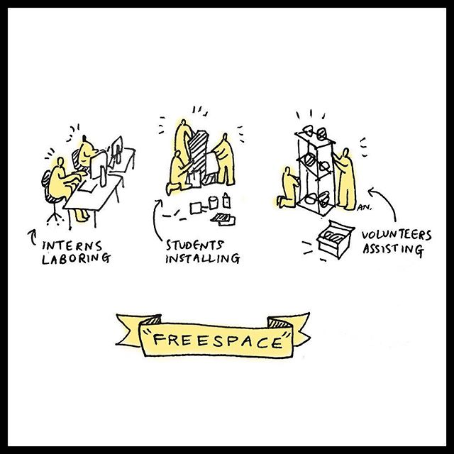"""The Venice Biennale, themed """"FREESPACE,"""" opened last week- but what is really free? Cartoon by Amelyn Ng, pulp 54"""