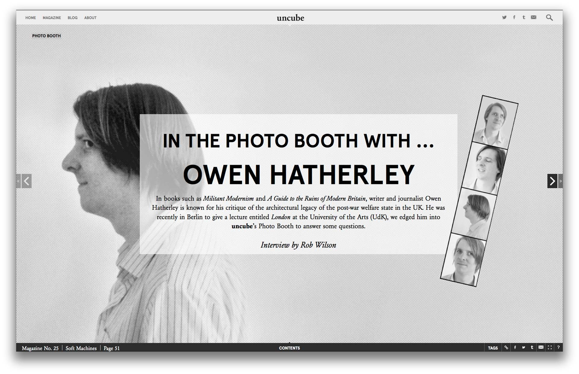An 'In the Photo Booth' interview from issue 25, Soft Machines