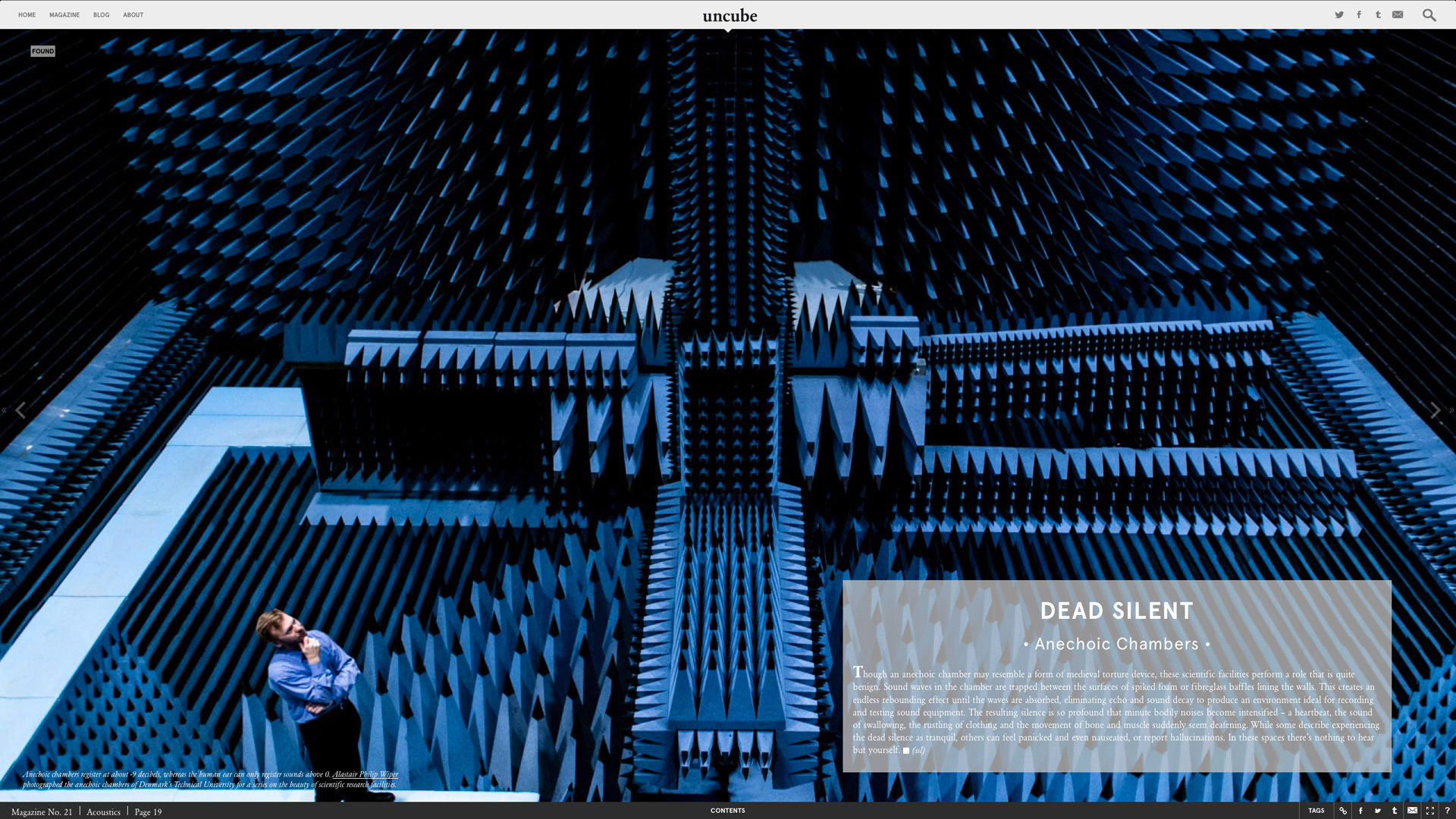 Shit you need to know about: a spread from issue 21, Acoustics, on Anechoic chambers.