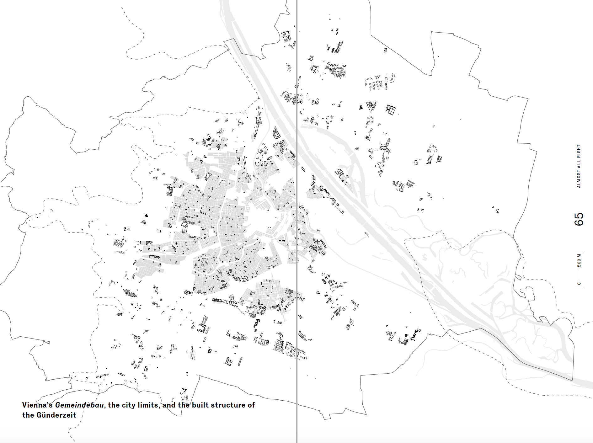 "Social housing in every neighborhood: the black indicates social housing projects, or 'Gemeindebau,' scattered across Vienna. The gray shows the historical 'Gründerzeit' city core. Credit: A spread from Rumpfhuber's book, ""Modelling Vienna, Real Fictions in Social Housing."""
