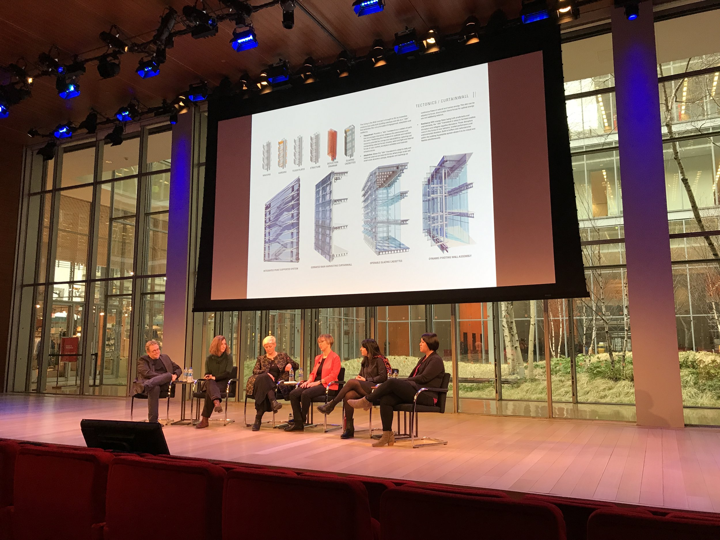 Ever fewer excuses to shut out nature? Vivian Loftness on panel in the auditorium at Renzo Piano's New York Times tower. A crisp projection, with daylight right behind.