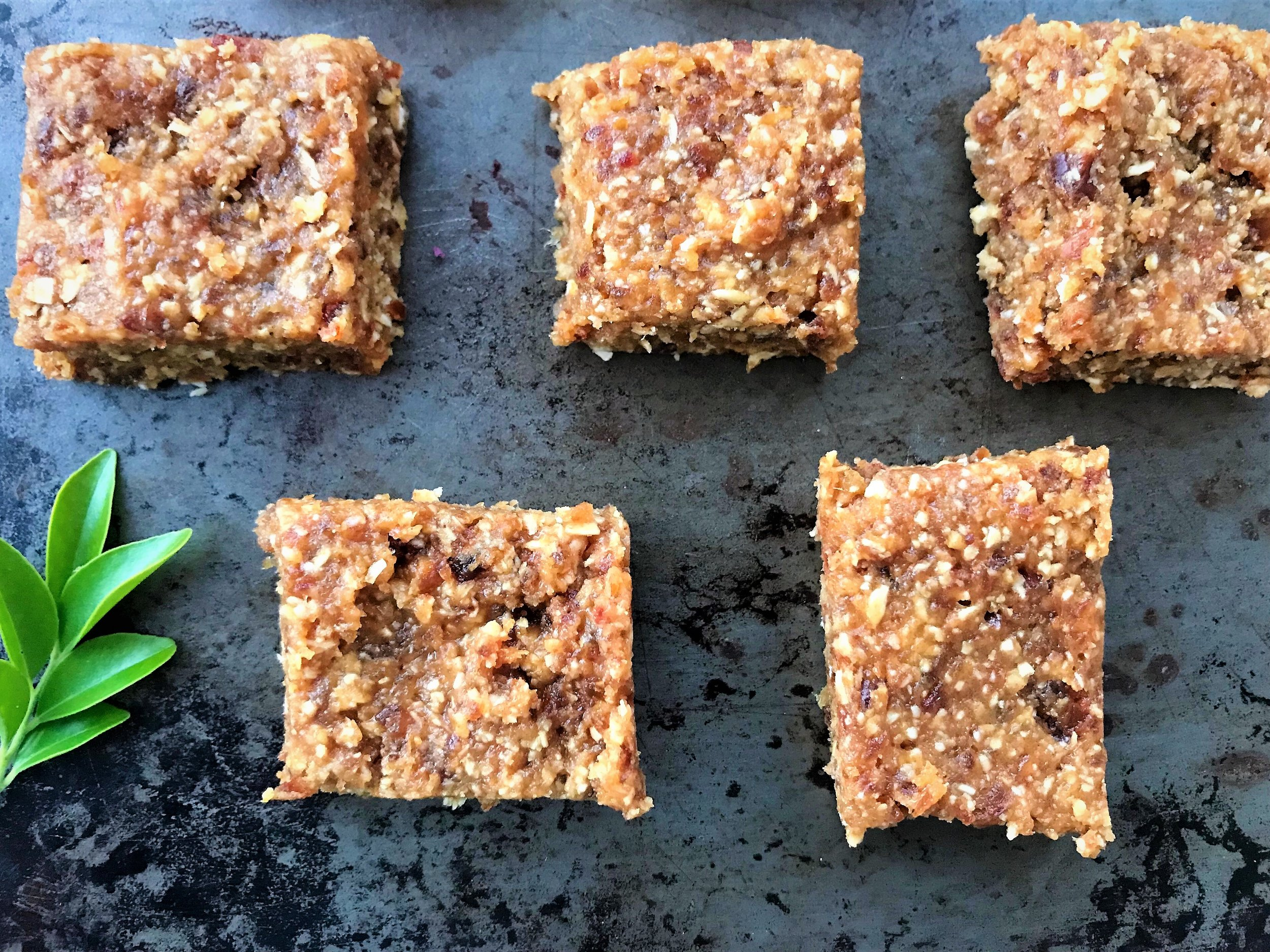 raw peanut butter, date and oat bites