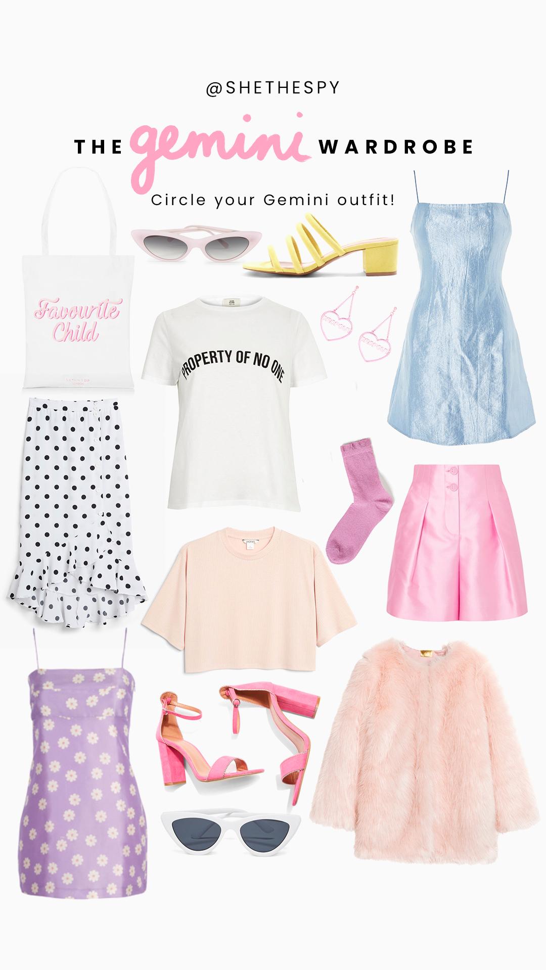 Shop Gemini - Bag: Skinny DipPink sunglasses: BandoYellow shoes: TopshopEarrings: Skinny DipBlue Dress: TopshopPolka dot skirt: MonkiPink shorts: Giorgio ArmaniSocks: MonkiWhite tee: River IslandPeach tee: MonkiFaux fur jacket: H&MPurple dress: Realisation ParPink shoes: TopshopWhite sunglasses: Bando