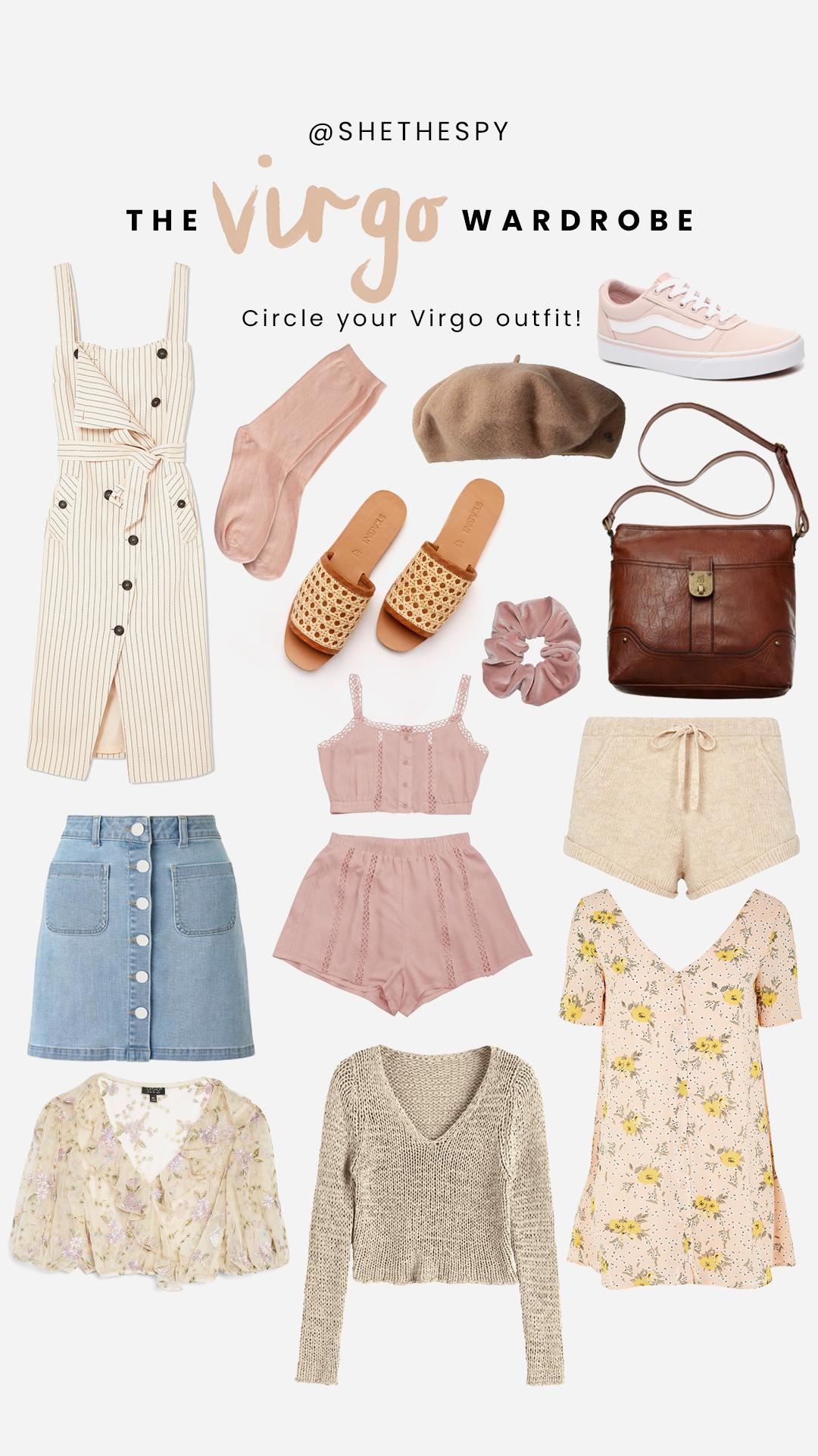 Shop Virgo - Stripe dress: AltuzarraSocks: UnknownBeret: Similar at Urban OutfittersSneakers: VansSlides: St AgniScrunchie: Urban OutfittersBag: UnknownShorts: SpellSet: ZafulSkirt: Similar at AsosFloral dress: Glamorous - Sold OutKnit: Zaful - Sold OutTop: Topshop
