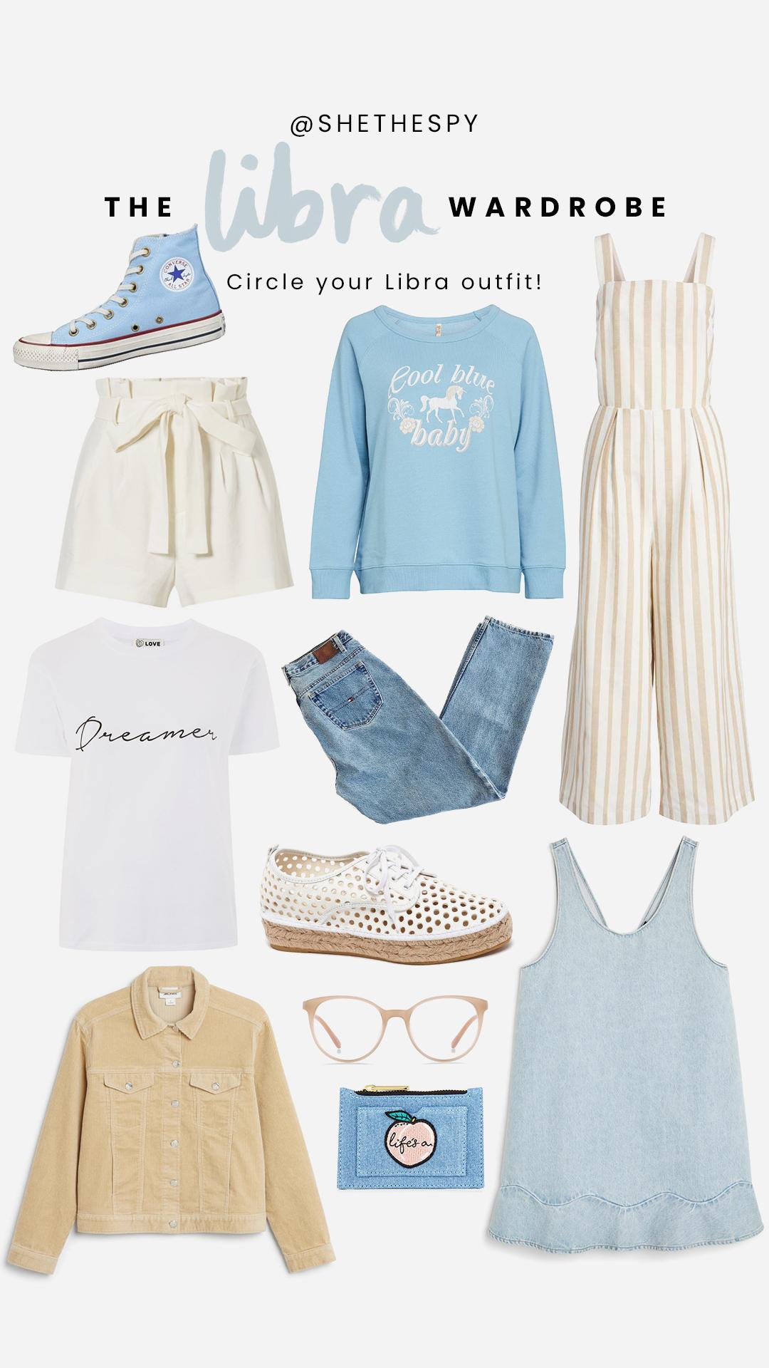 Shop Libra - Sneakers: ConverseShorts: Alice & OliviaSweater: SpellJumpsuit: J.O.ATee: TopshopJeans: UnknownShoes: Loeffler RandallGlasses: Bailey NelsonJacket: MonkiPurse: Skinny DipDress: Monki