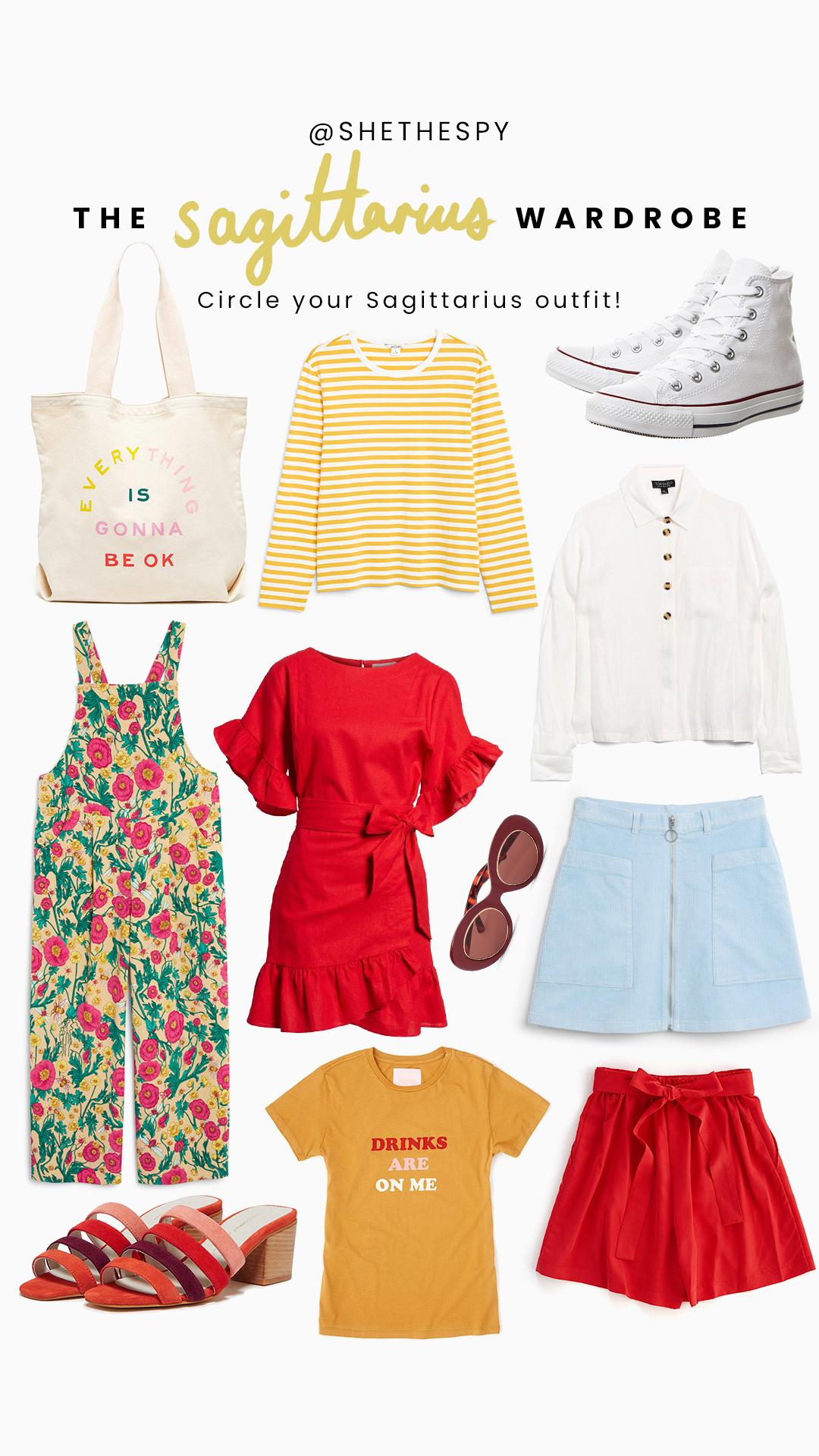 Shop Sagittarius - Bag: BandoStripe top: MonkiShoes: ConverseJumpsuit: MonkiDress: SocialiteShirt: TopshopSunglasses: BandoSkirt: MonkiTee: BandoShorts: BandoHeels: Bando