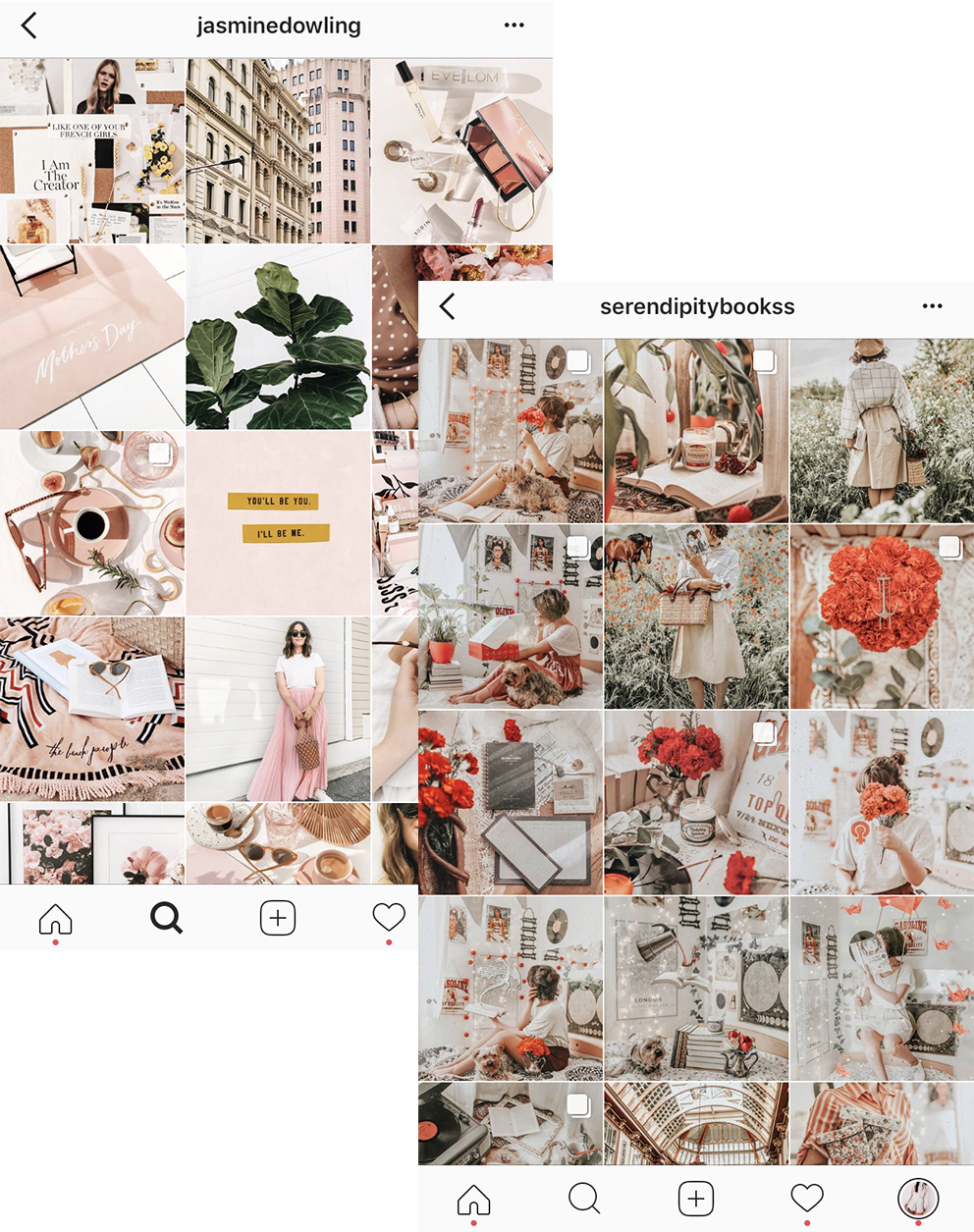 3/ use colour as a motif - Featuring the same colour throughout the majority of your photos can also draw all your posts together. The stricter you are with this, the more cohesive your feed will look. Spread out photos that don't fit this colour scheme.