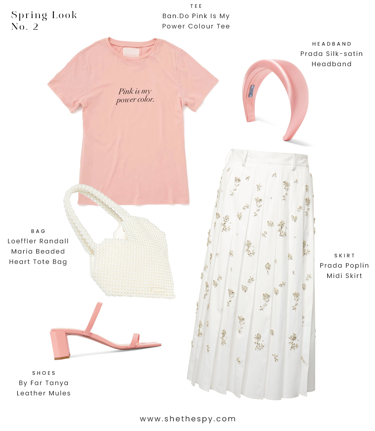 Spring look no.2 - Powder pink, angelic rose. Hopeless modern romantic. Pearls and poetry.SHOP //TeeBagShoesSkirtHeadband