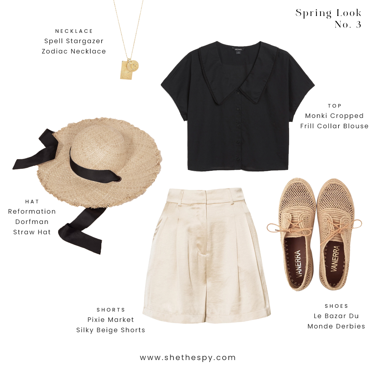 Spring look no. 3 - Pack a picnic basket. Days bicycle riding to nearby castles. Woven accessories and ribbons in hair. Monochrome chic.SHOP //NecklaceTopHatShortsShoes