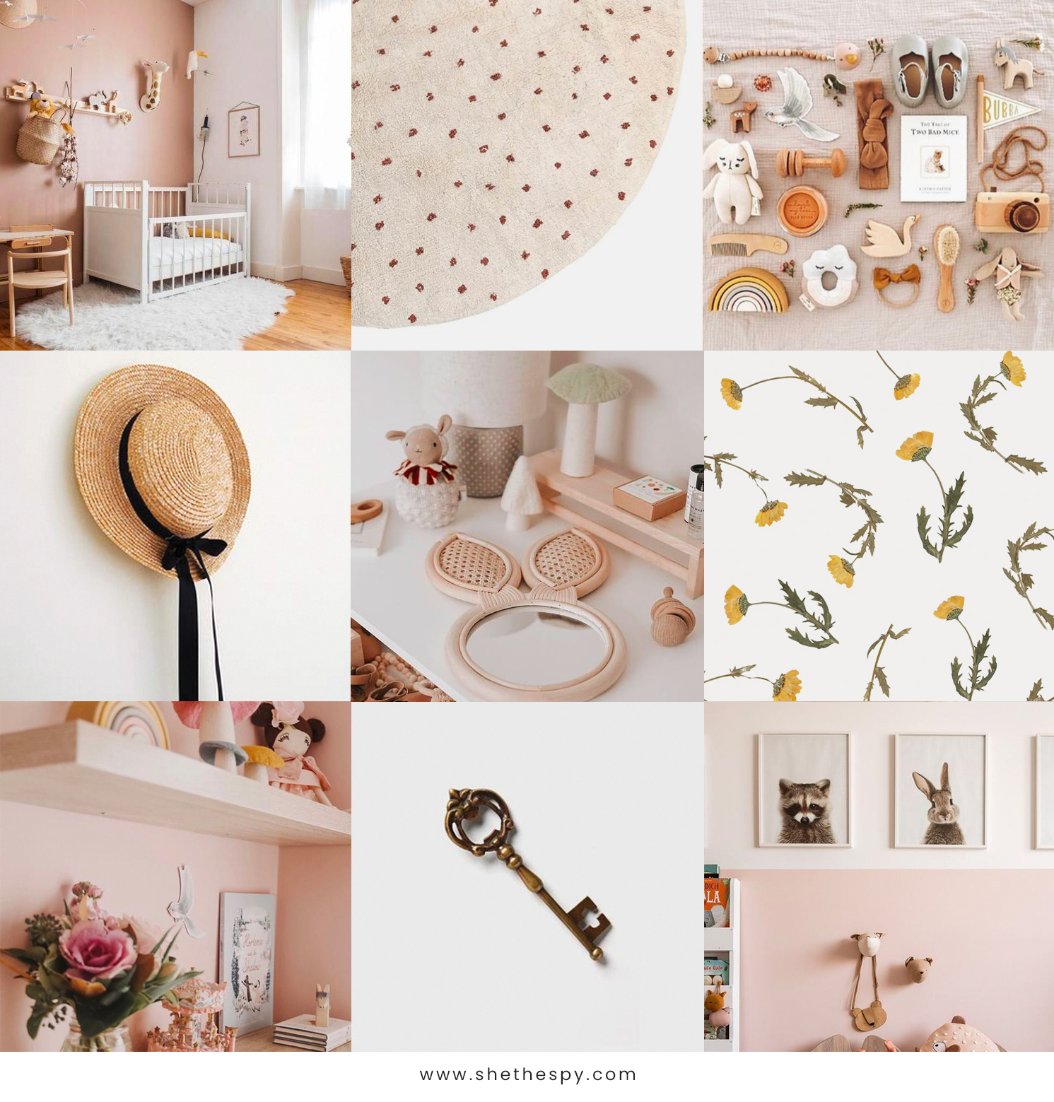 Mood board - Theme: The Secret GardenMuted peachy tones, delicate florals, secret wooden doors, dried flowers, antique keys, straw hats, pretty ribbons, wooden elephants, vintage fabrics and sweet dresses, little treasures, antique gold, a love for timeless classics, curiosity.
