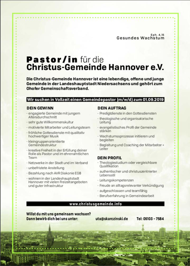 Christus-Gemeinde Hannover - Stellenanzeige.png