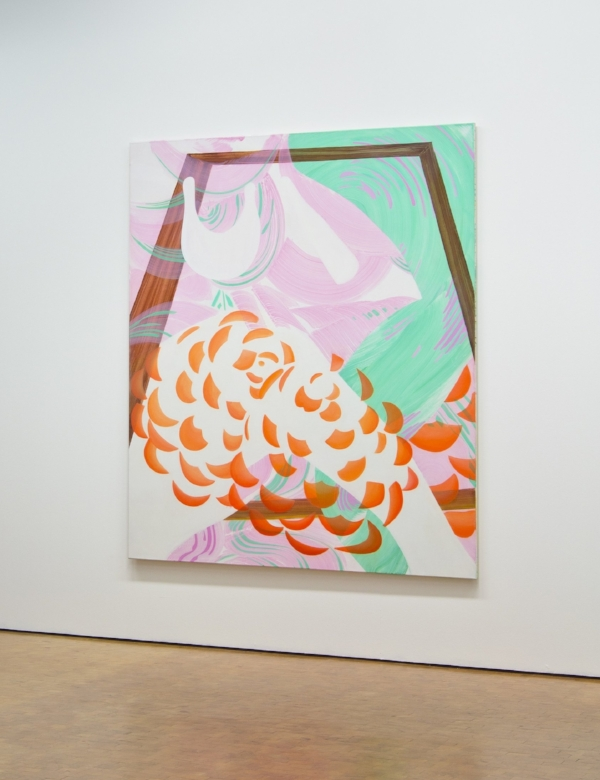 Installation view at Städische Galerie Karlsruhe 2012. Rebekka Löffler, 'Fabel', 2012, acrylic and oil on canvas, 220 x 190 cm.