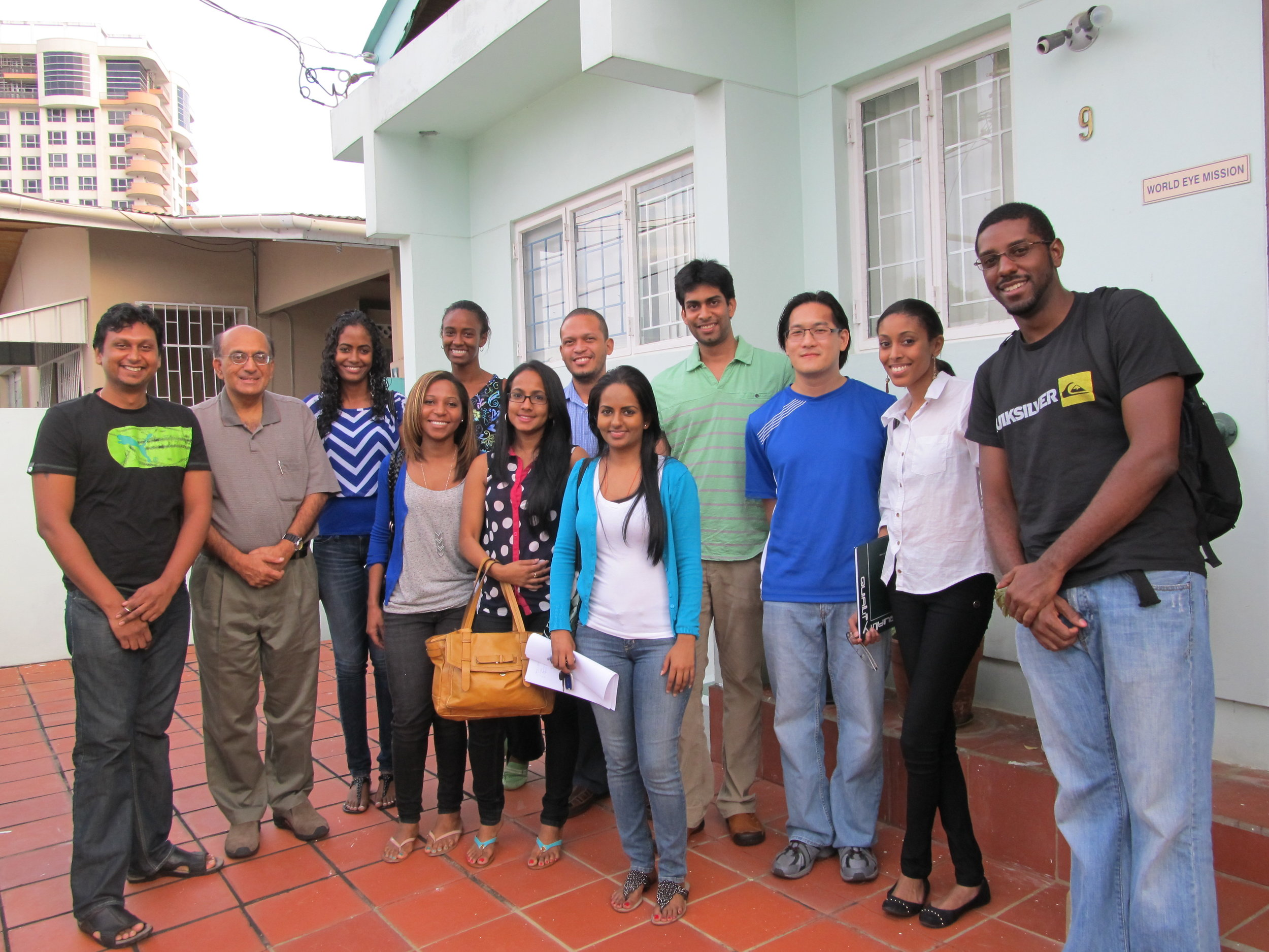 Residents outside the World Eye Mission clinic in Port of Spain, Trinidad, 2013.