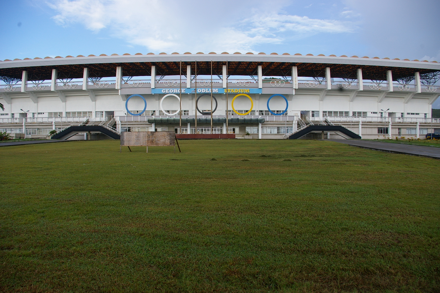 St. Jude Hospital in the Vieux Fort stadium